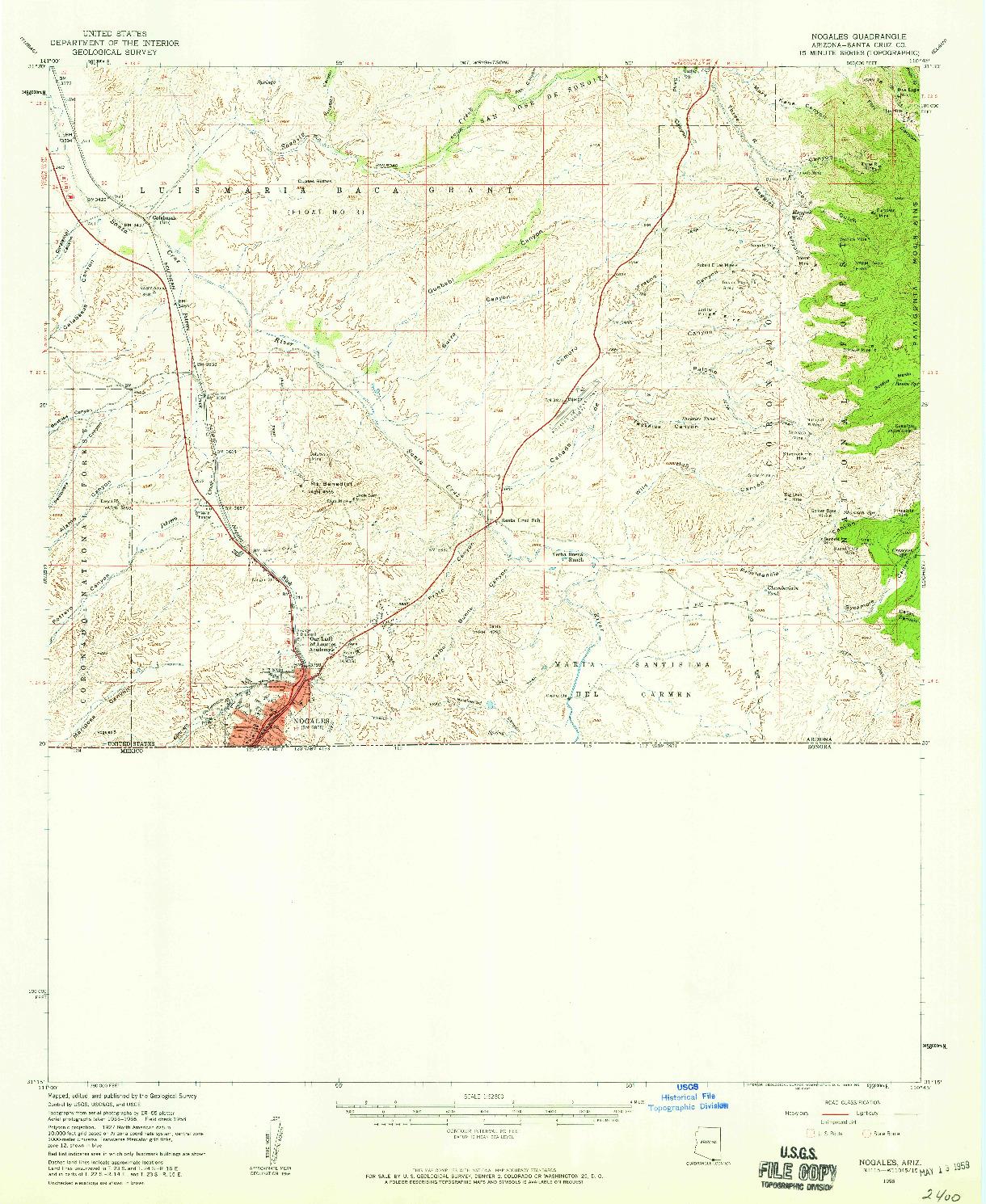 USGS 1:62500-SCALE QUADRANGLE FOR NOGALES, AZ 1958