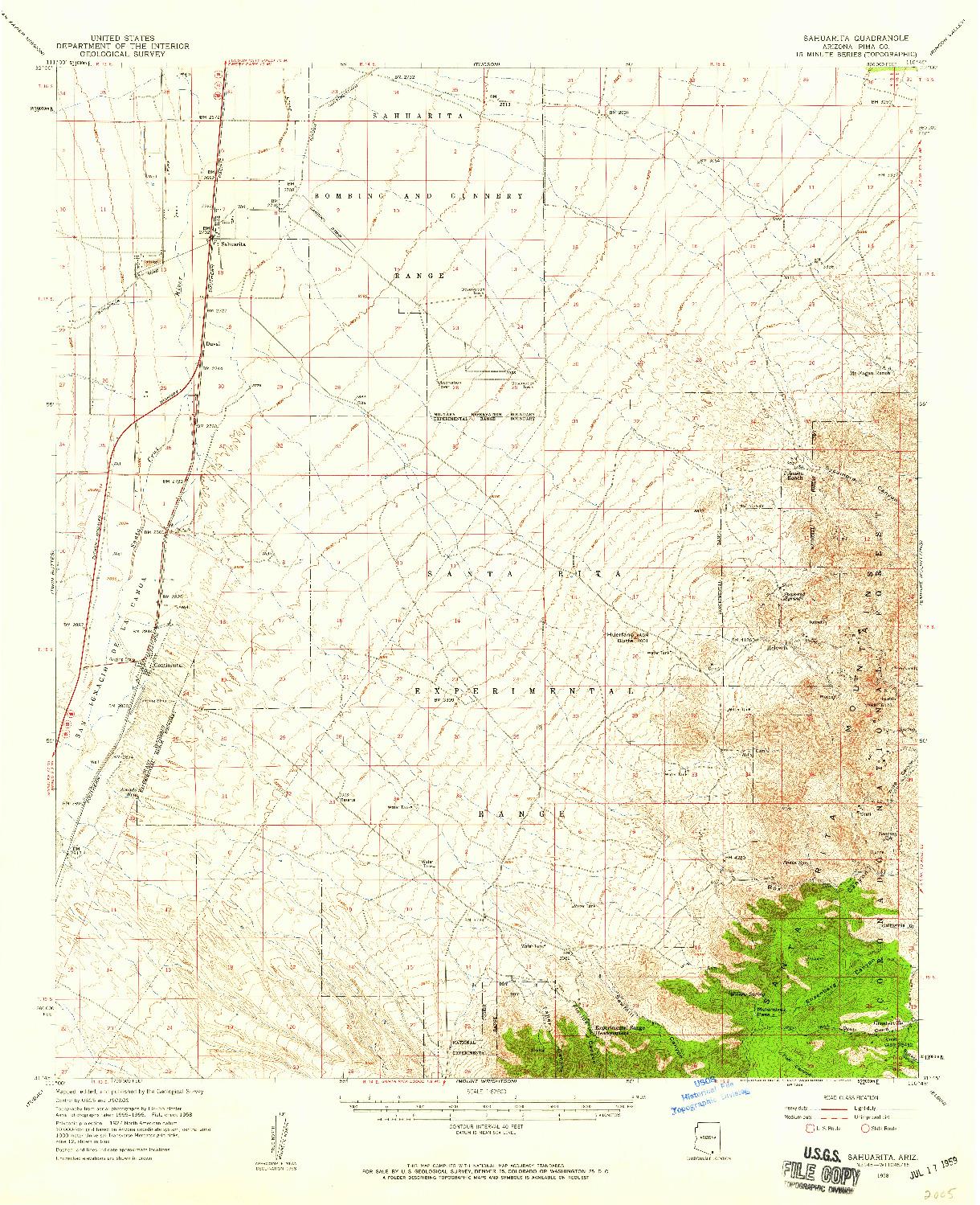 USGS 1:62500-SCALE QUADRANGLE FOR SAHUARITA, AZ 1958