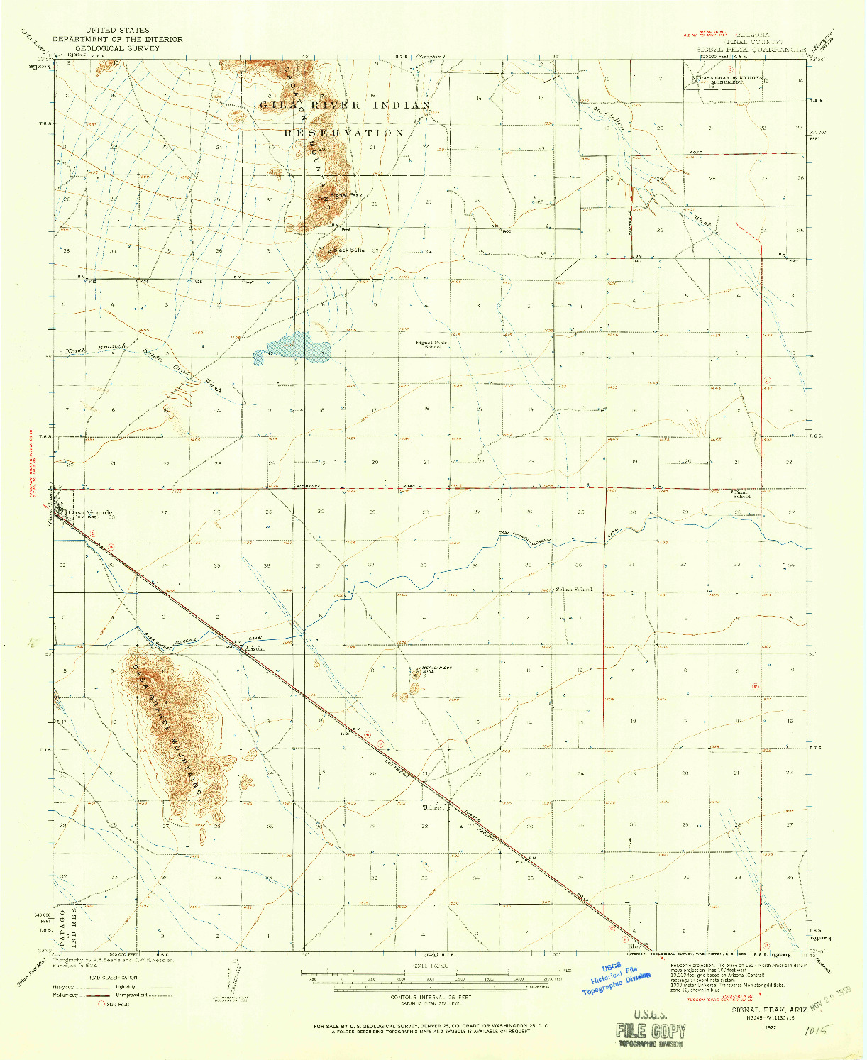 USGS 1:62500-SCALE QUADRANGLE FOR SIGNAL PEAK, AZ 1922