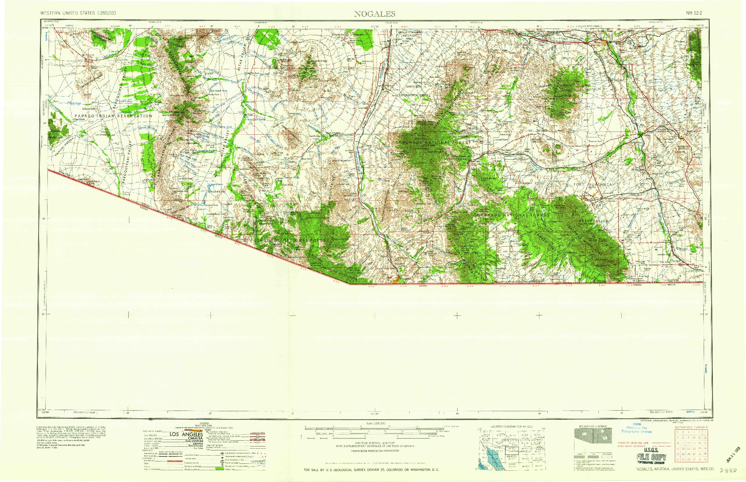 USGS 1:250000-SCALE QUADRANGLE FOR NOGALES, AZ 1959