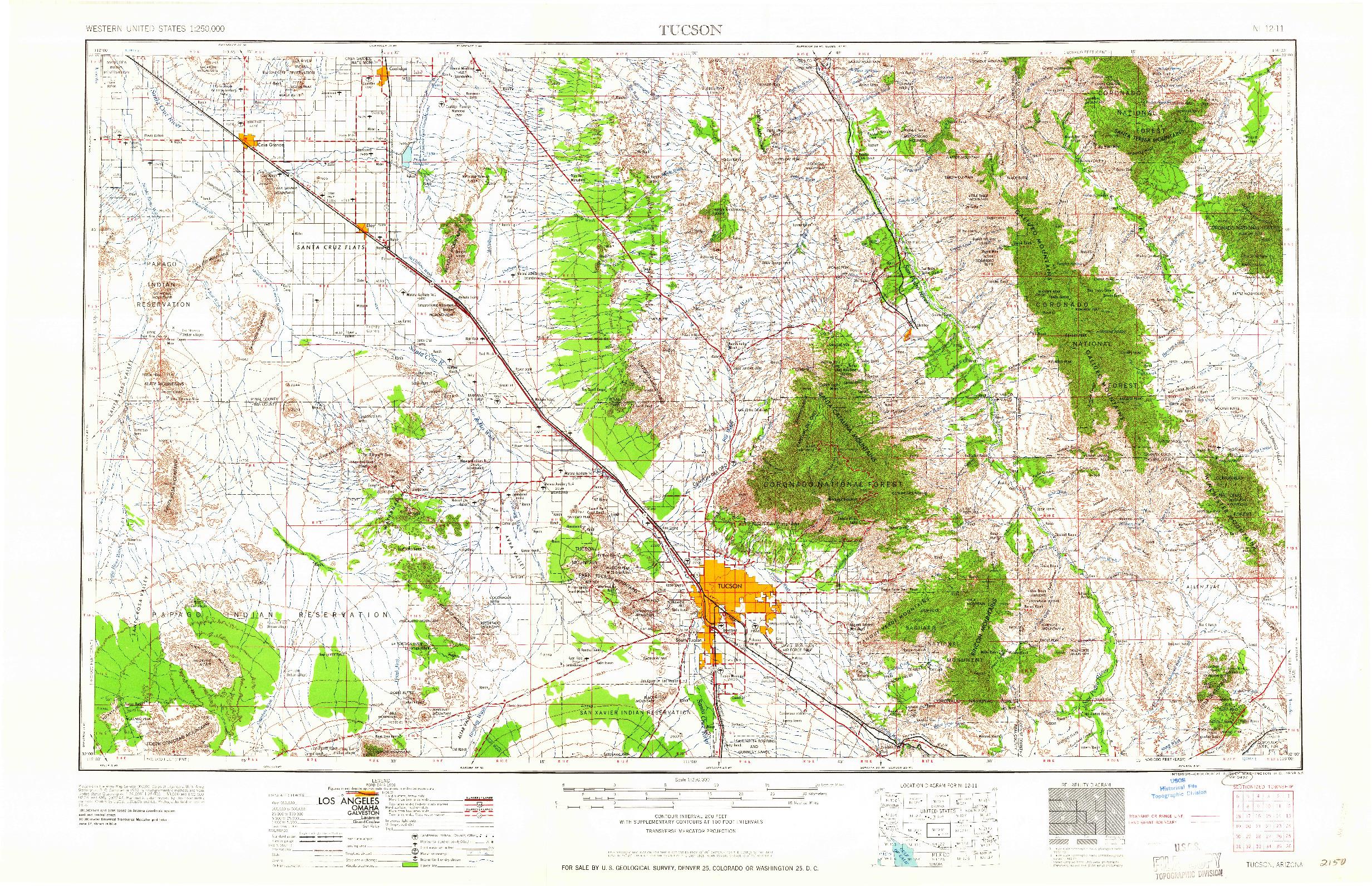 USGS 1:250000-SCALE QUADRANGLE FOR TUCSON, AZ 1959