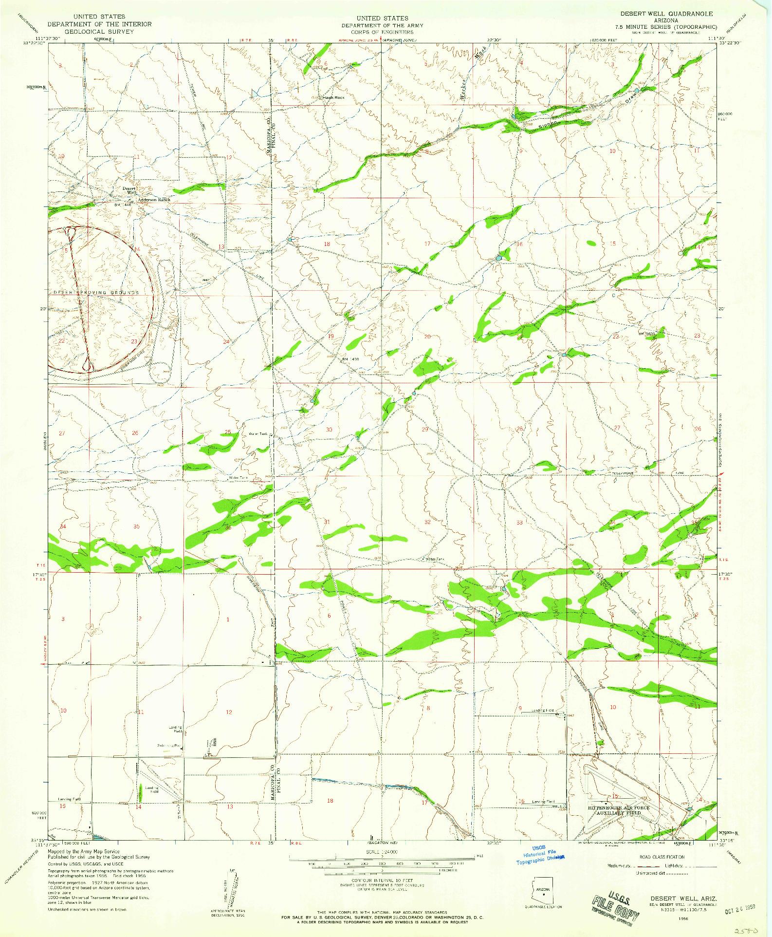 USGS 1:24000-SCALE QUADRANGLE FOR DESERT WELL, AZ 1956