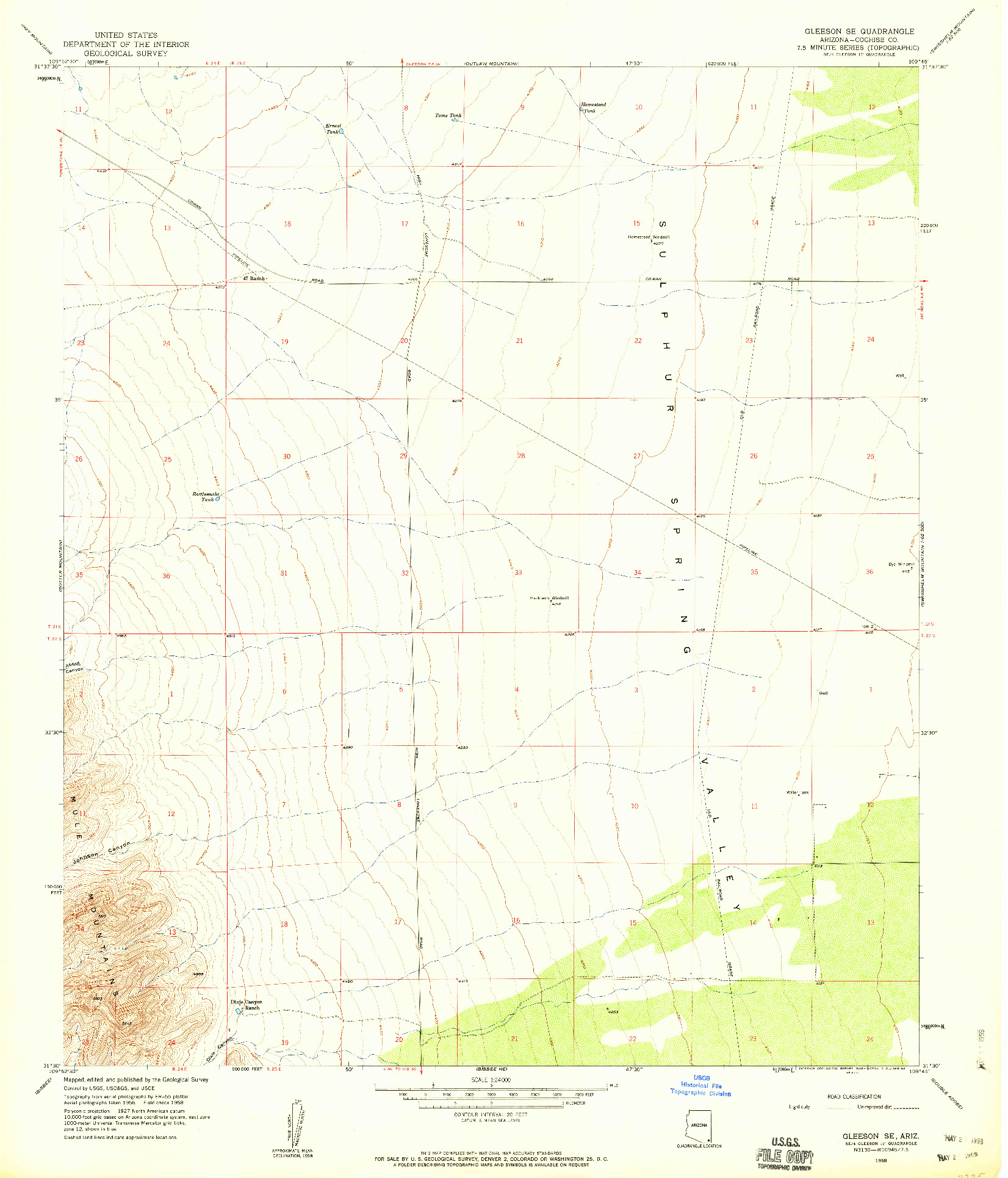 USGS 1:24000-SCALE QUADRANGLE FOR GLEESON SE, AZ 1958
