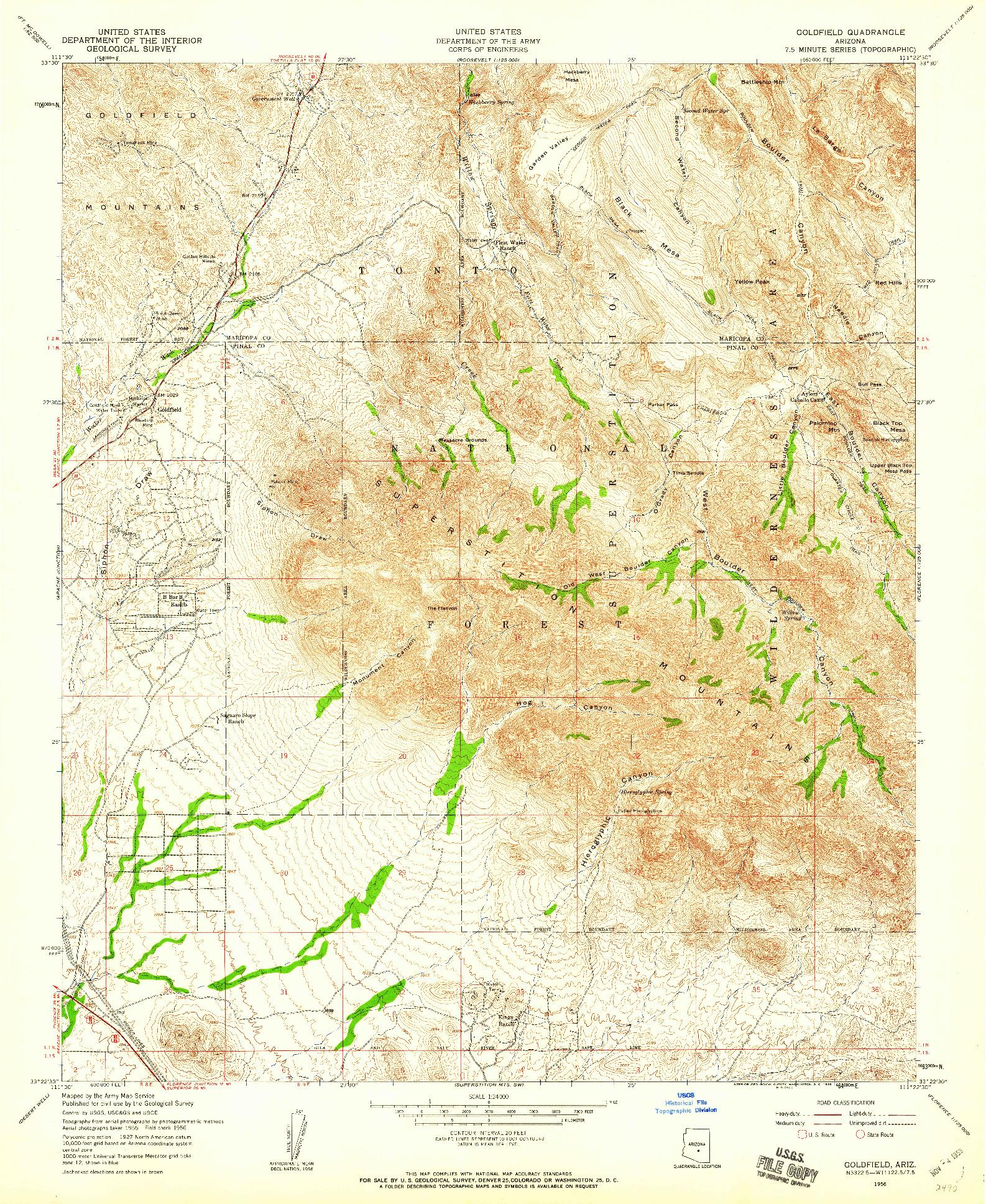 USGS 1:24000-SCALE QUADRANGLE FOR GOLDFIELD, AZ 1956