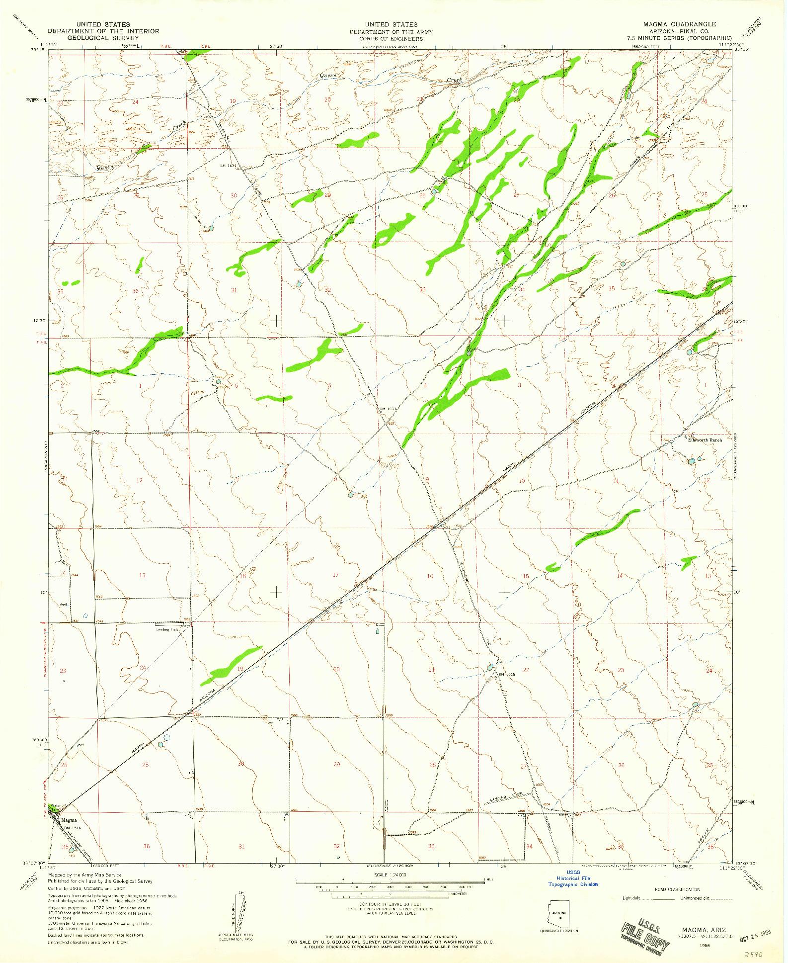 USGS 1:24000-SCALE QUADRANGLE FOR MAGMA, AZ 1956