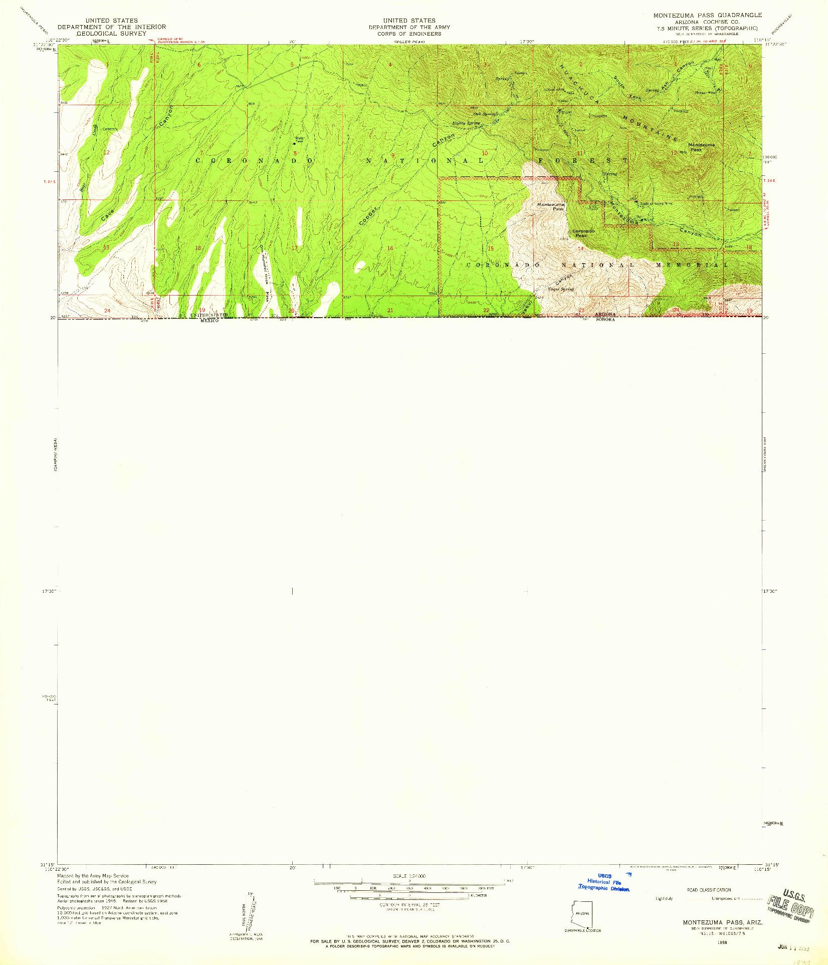 USGS 1:24000-SCALE QUADRANGLE FOR MONTEZUMA PASS, AZ 1958