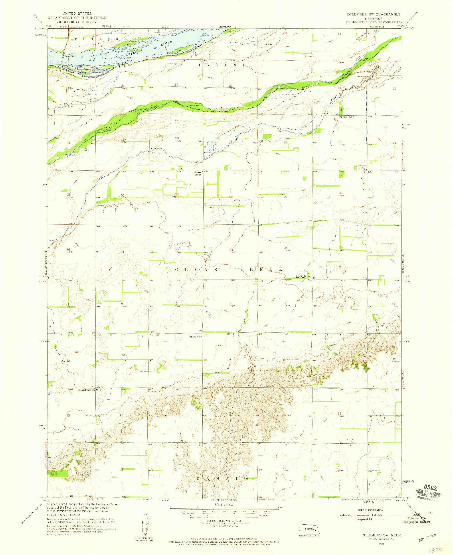 USGS 1:24000-SCALE QUADRANGLE FOR COLUMBUS SW, NE 1958