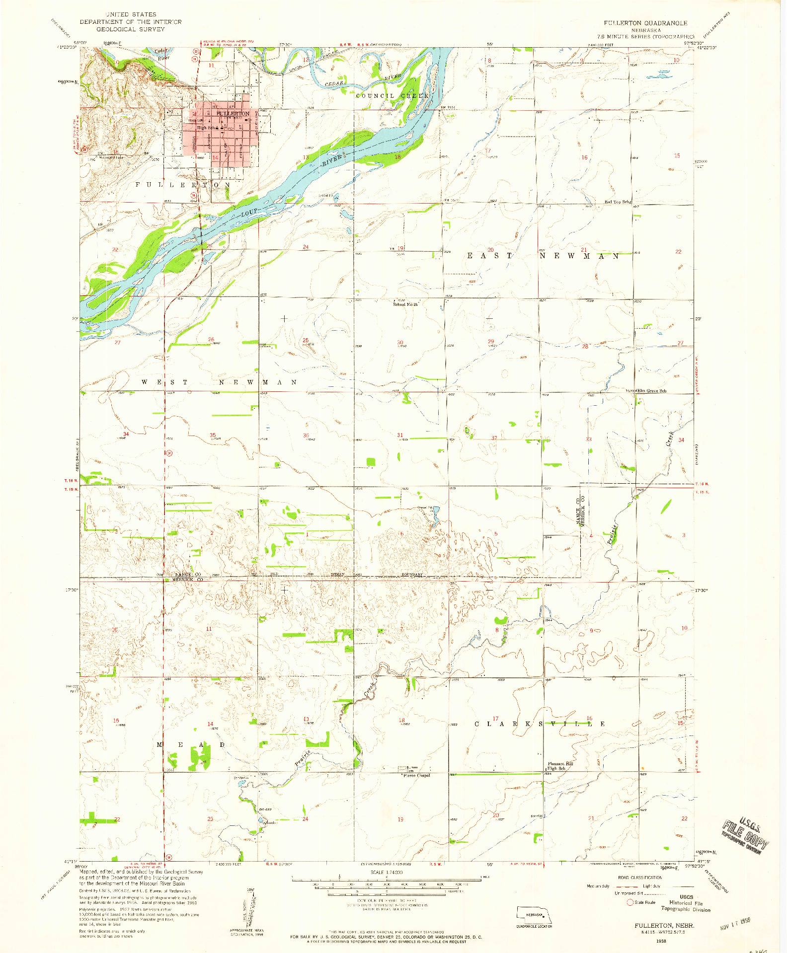 USGS 1:24000-SCALE QUADRANGLE FOR FULLERTON, NE 1958