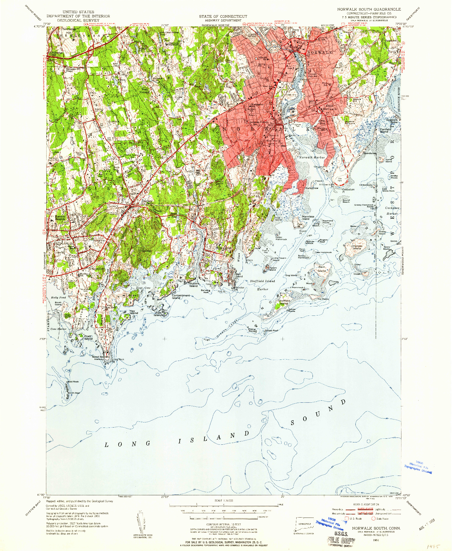 USGS 1:24000-SCALE QUADRANGLE FOR NORWALK SOUTH, CT 1951