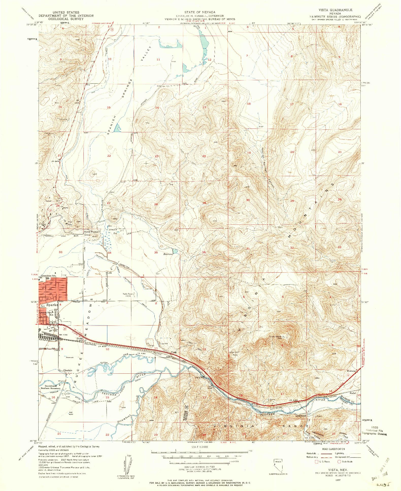 USGS 1:24000-SCALE QUADRANGLE FOR VISTA, NV 1957
