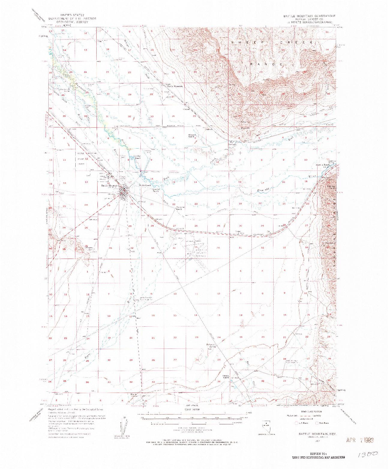 USGS 1:62500-SCALE QUADRANGLE FOR BATTLE MOUNTAIN, NV 1957