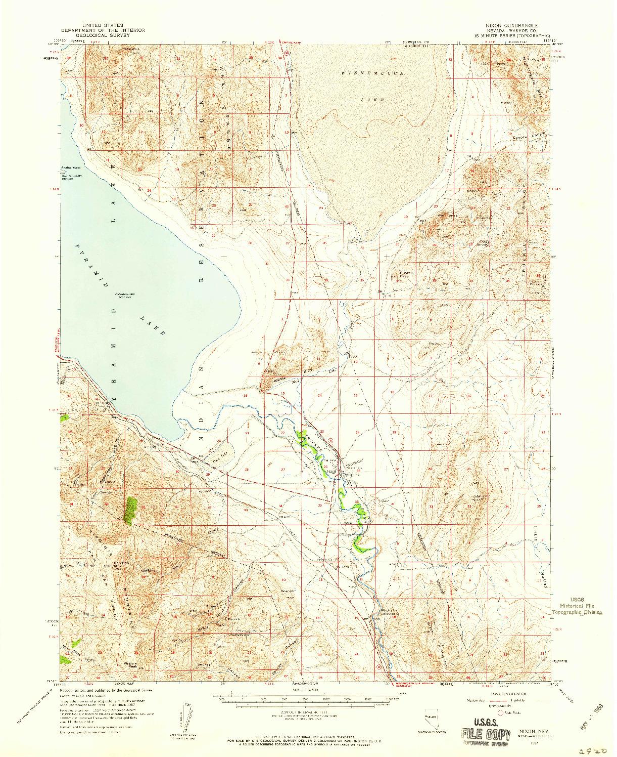 USGS 1:62500-SCALE QUADRANGLE FOR NIXON, NV 1957