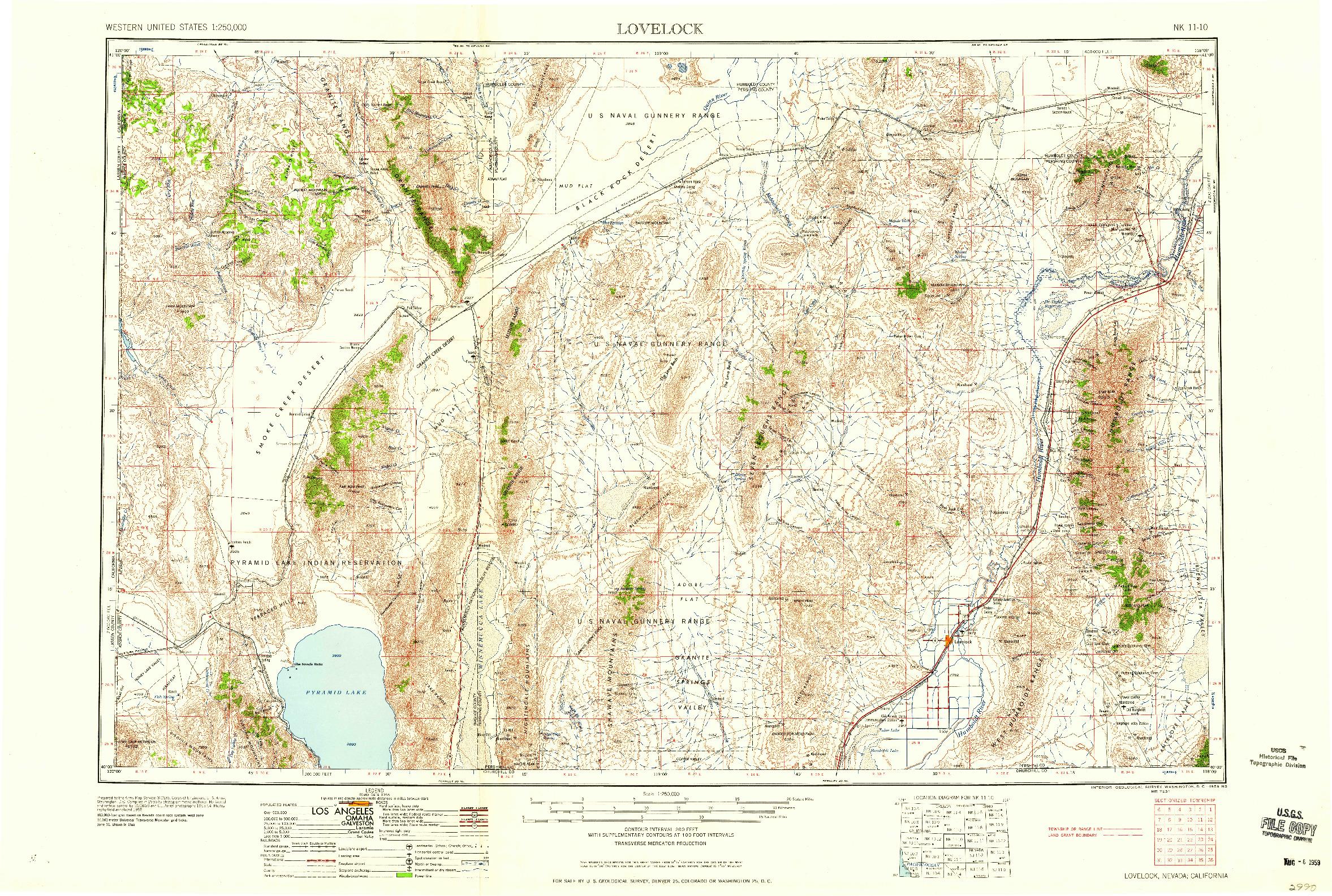 USGS 1:250000-SCALE QUADRANGLE FOR LOVELOCK, NV 1959