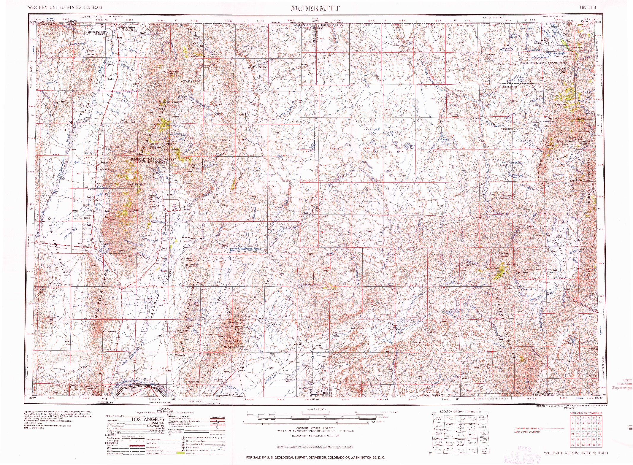 USGS 1:250000-SCALE QUADRANGLE FOR MCDERMITT, NV 1959