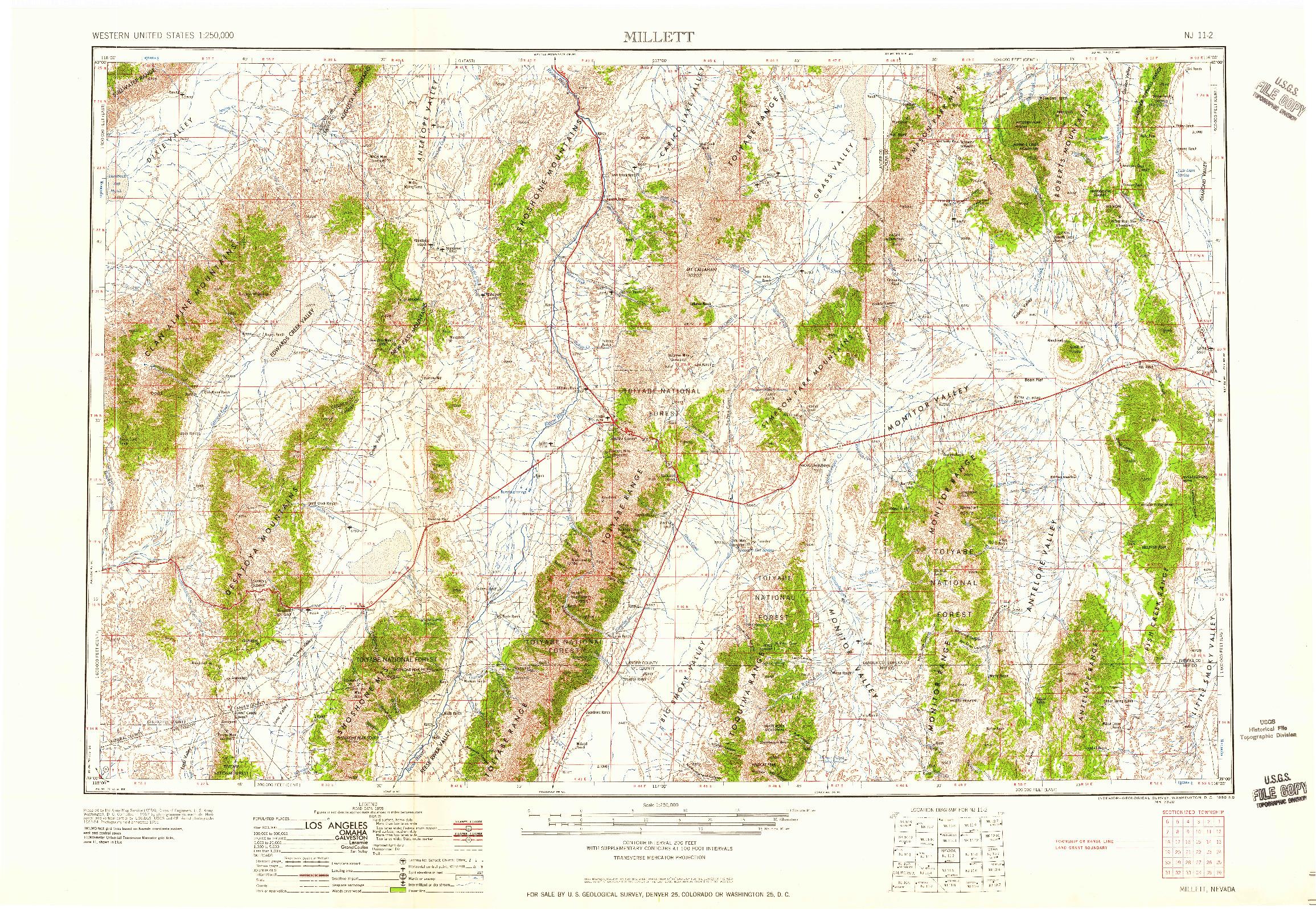 USGS 1:250000-SCALE QUADRANGLE FOR MILLETT, NV 1959