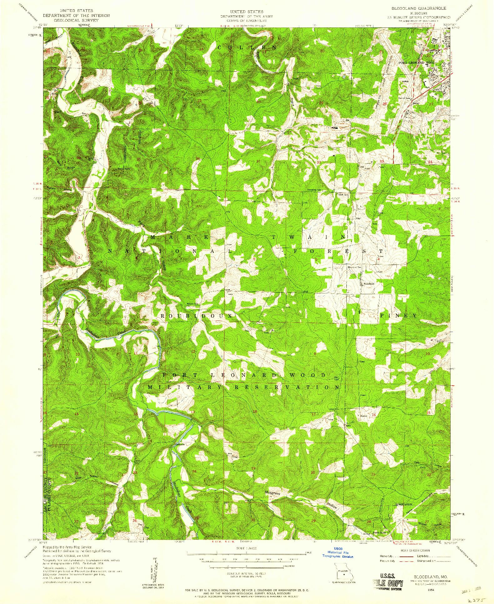 USGS 1:24000-SCALE QUADRANGLE FOR BLOODLAND, MO 1954