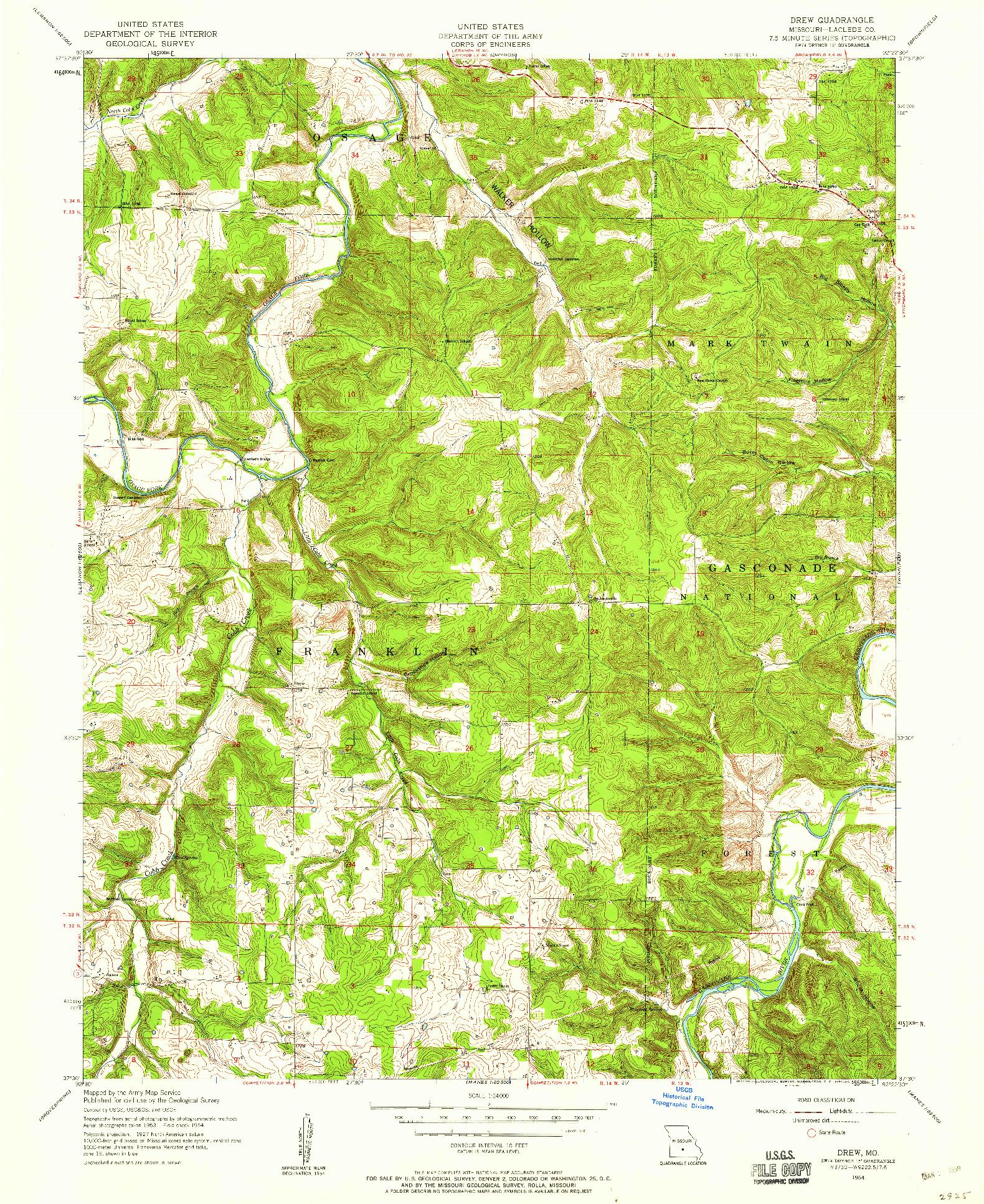 USGS 1:24000-SCALE QUADRANGLE FOR DREW, MO 1954