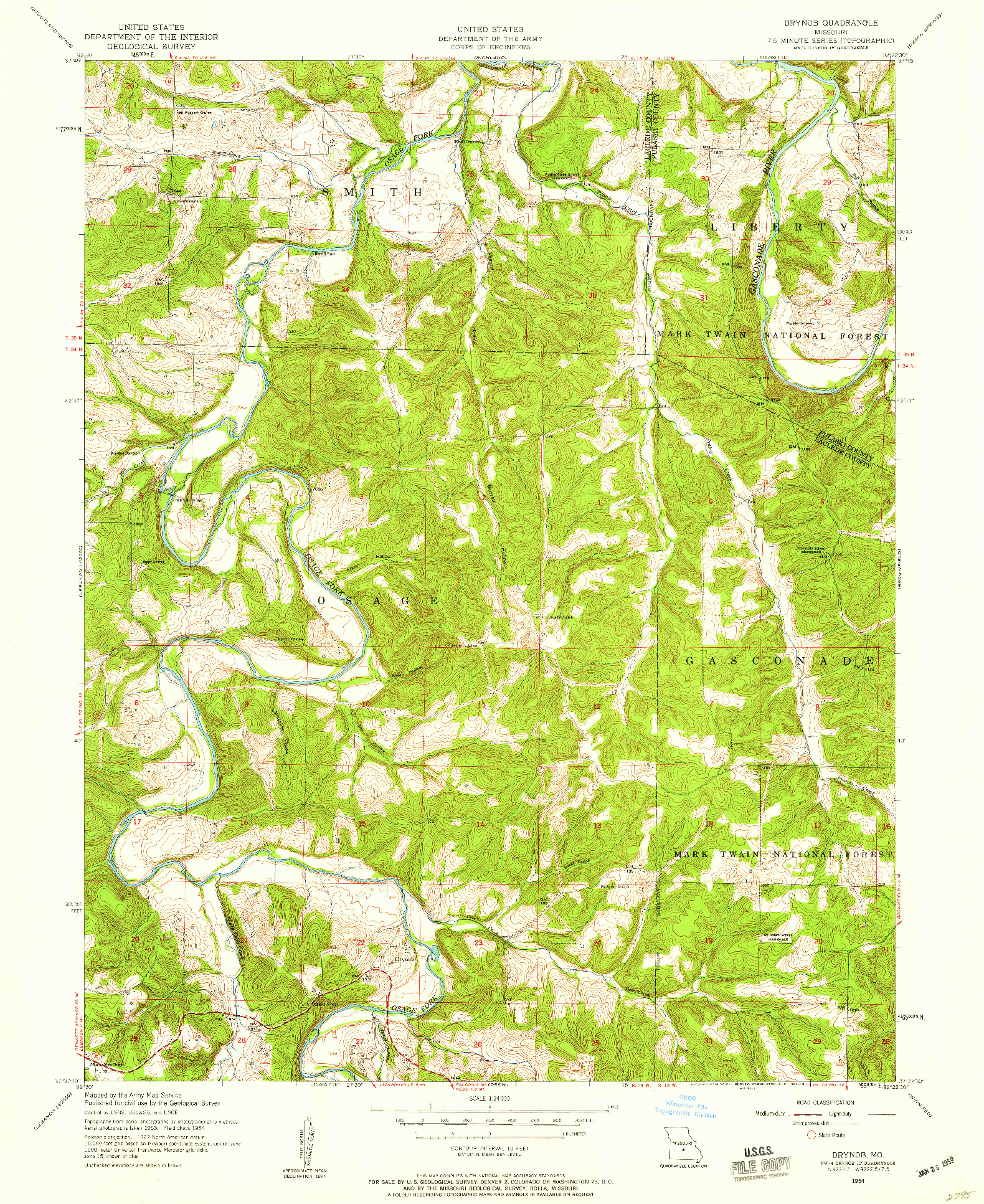 USGS 1:24000-SCALE QUADRANGLE FOR DRYNOB, MO 1954