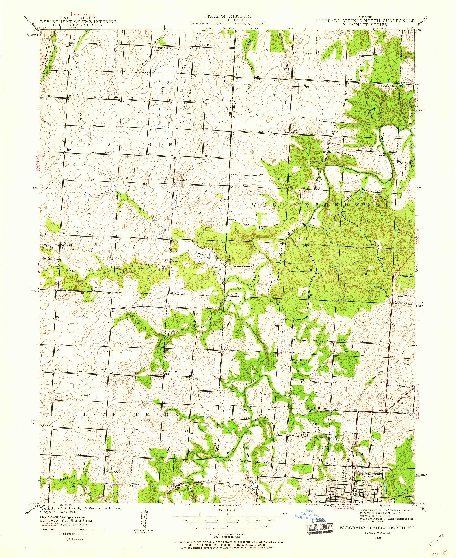 USGS 1:24000-SCALE QUADRANGLE FOR ELDORADO SPRINGS NORTH, MO 1939