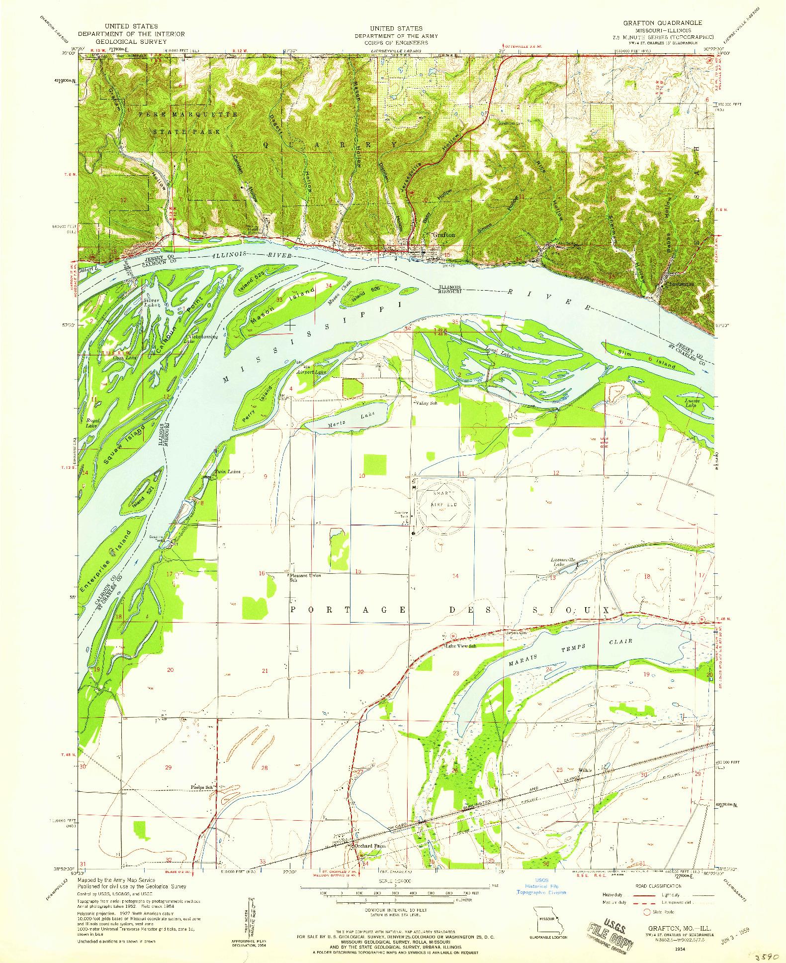 USGS 1:24000-SCALE QUADRANGLE FOR GRAFTON, MO 1954