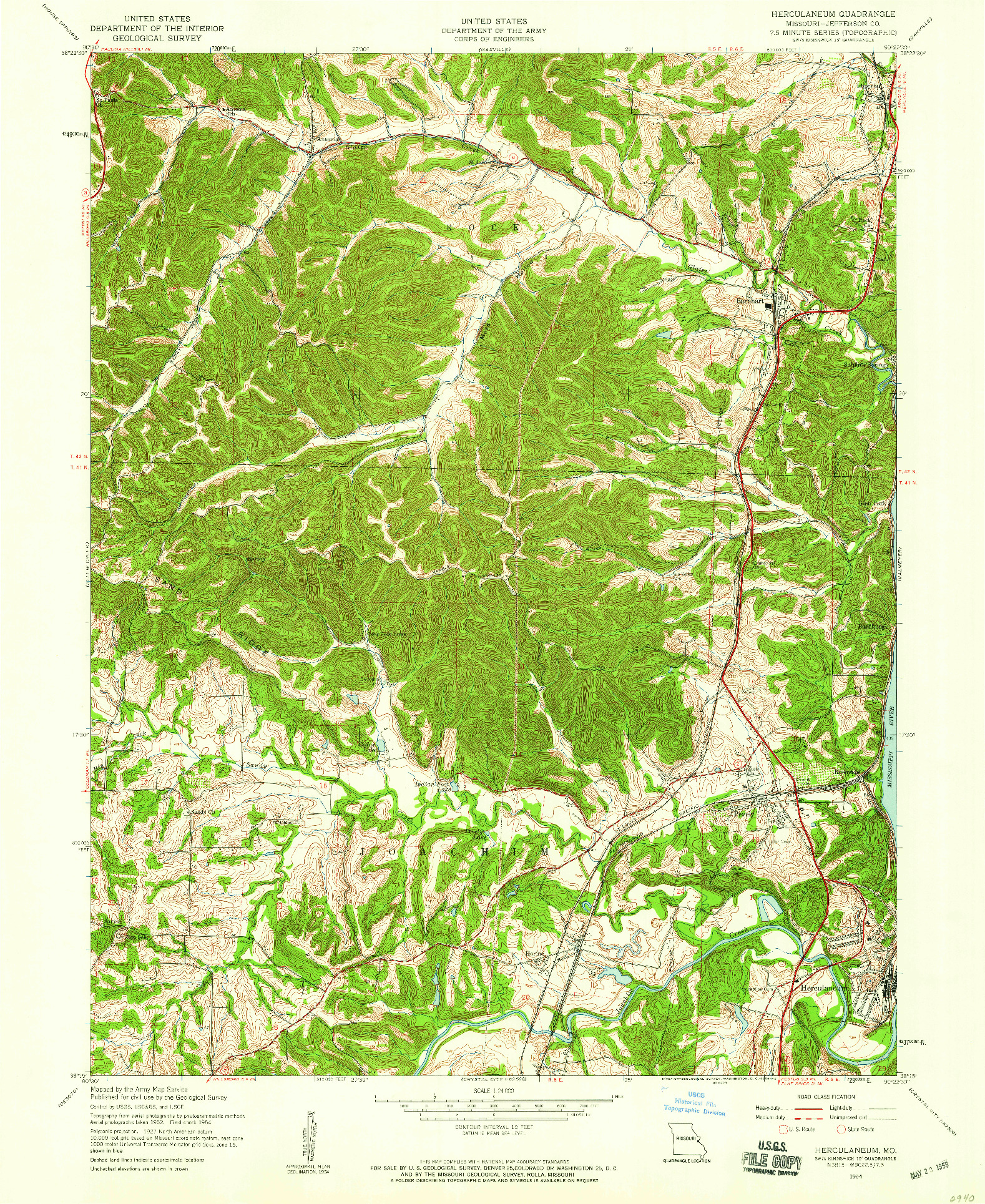 USGS 1:24000-SCALE QUADRANGLE FOR HERCULANEUM, MO 1954