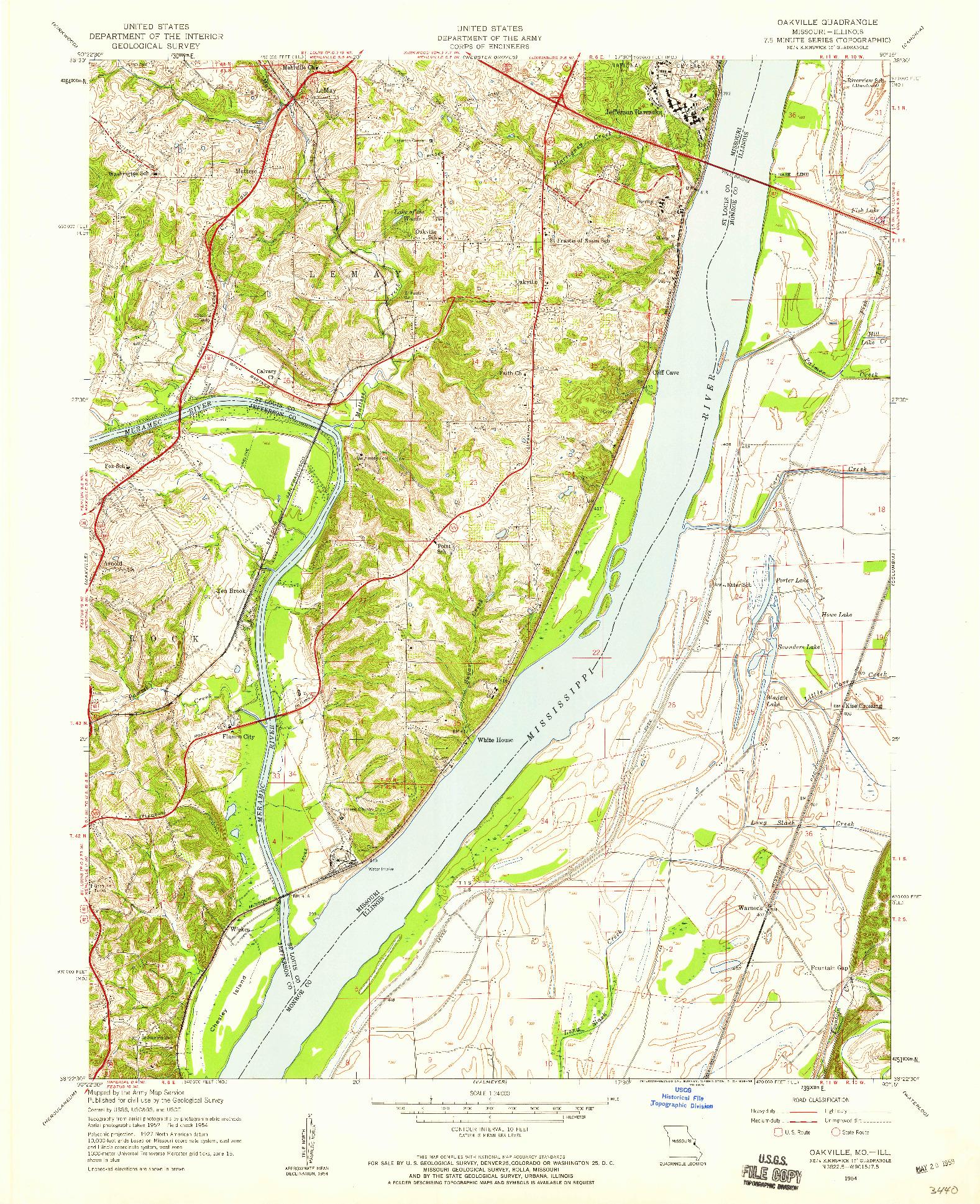 USGS 1:24000-SCALE QUADRANGLE FOR OAKVILLE, MO 1954