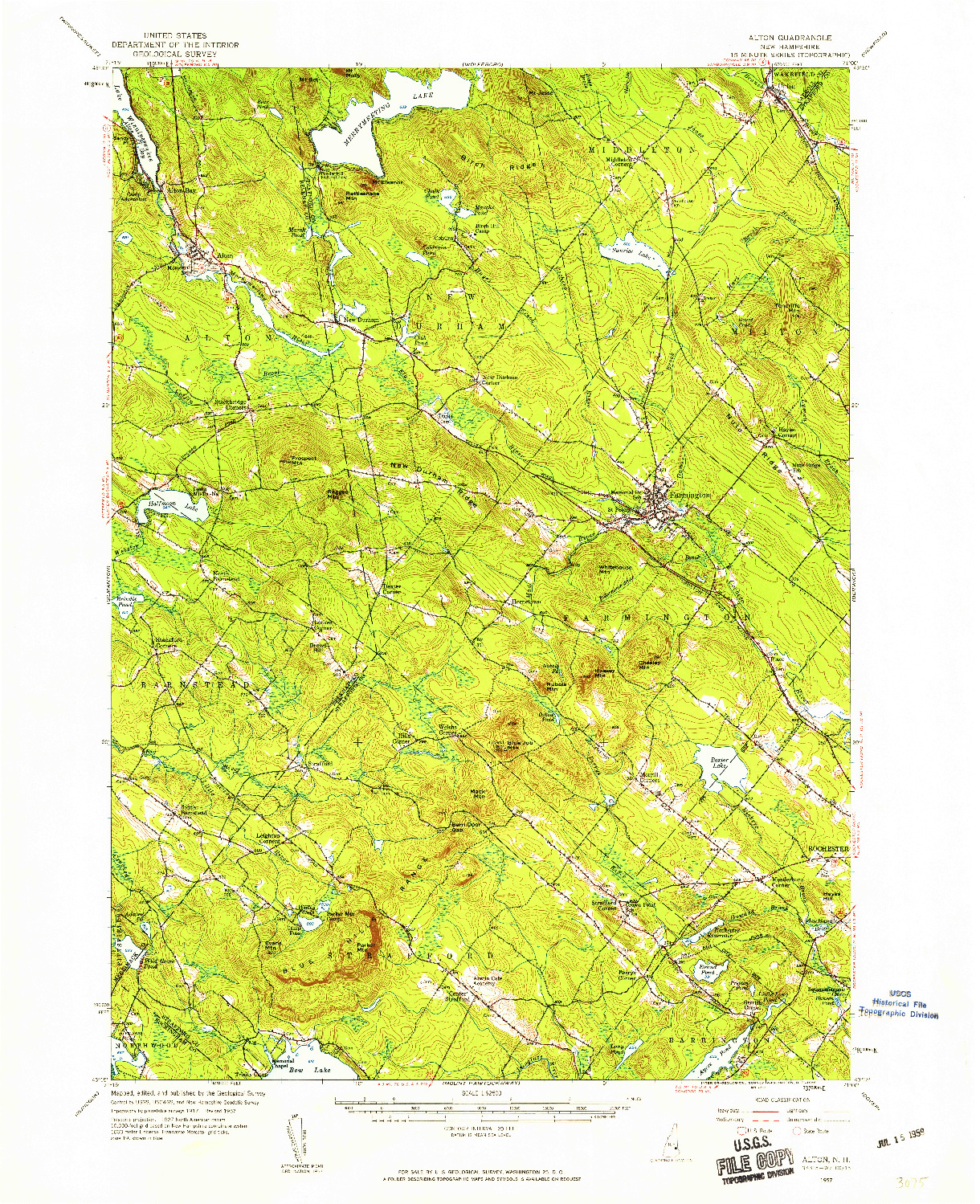 USGS 1:62500-SCALE QUADRANGLE FOR ALTON, NH 1957