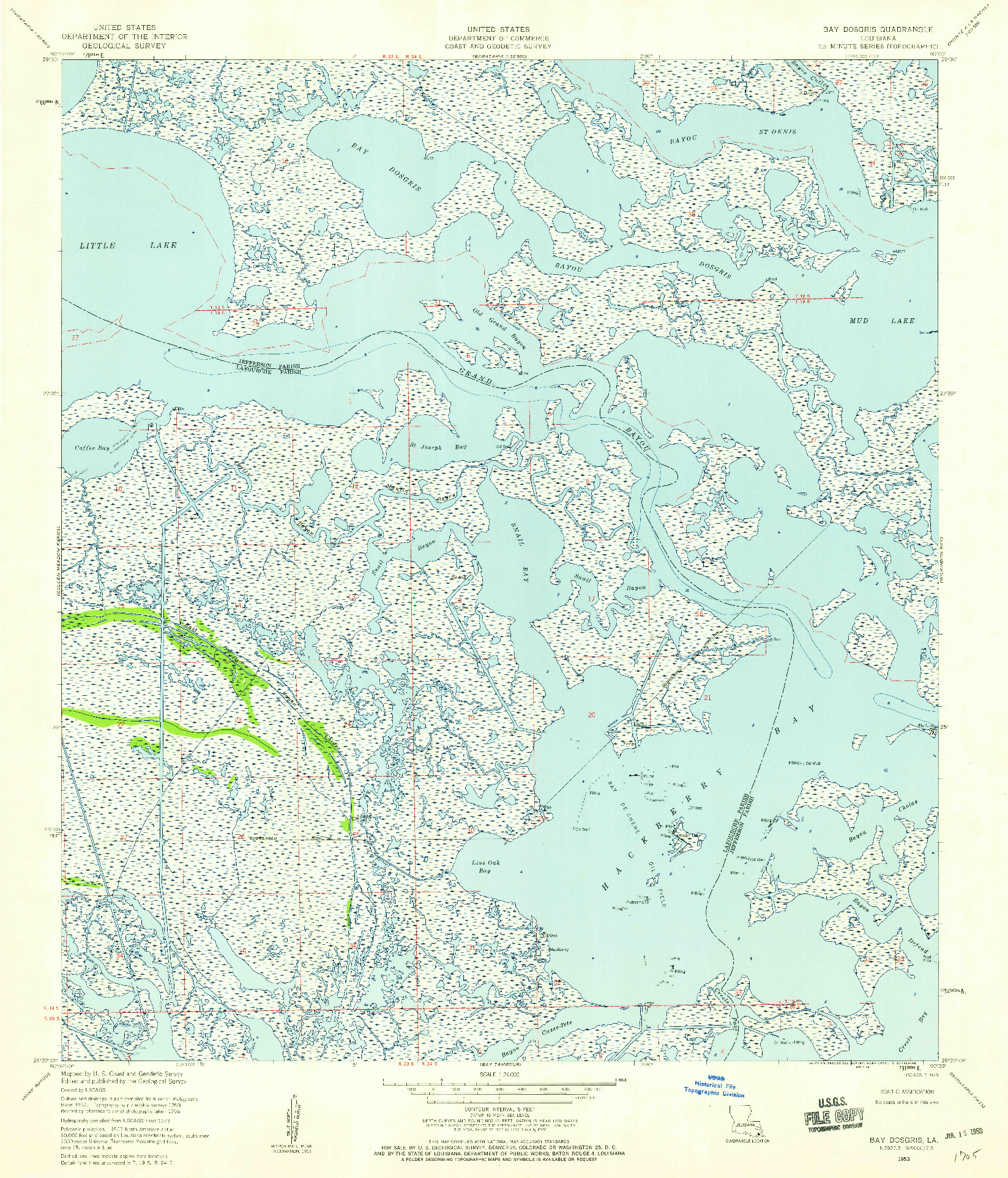 USGS 1:24000-SCALE QUADRANGLE FOR BAY DOSGRIS, LA 1953