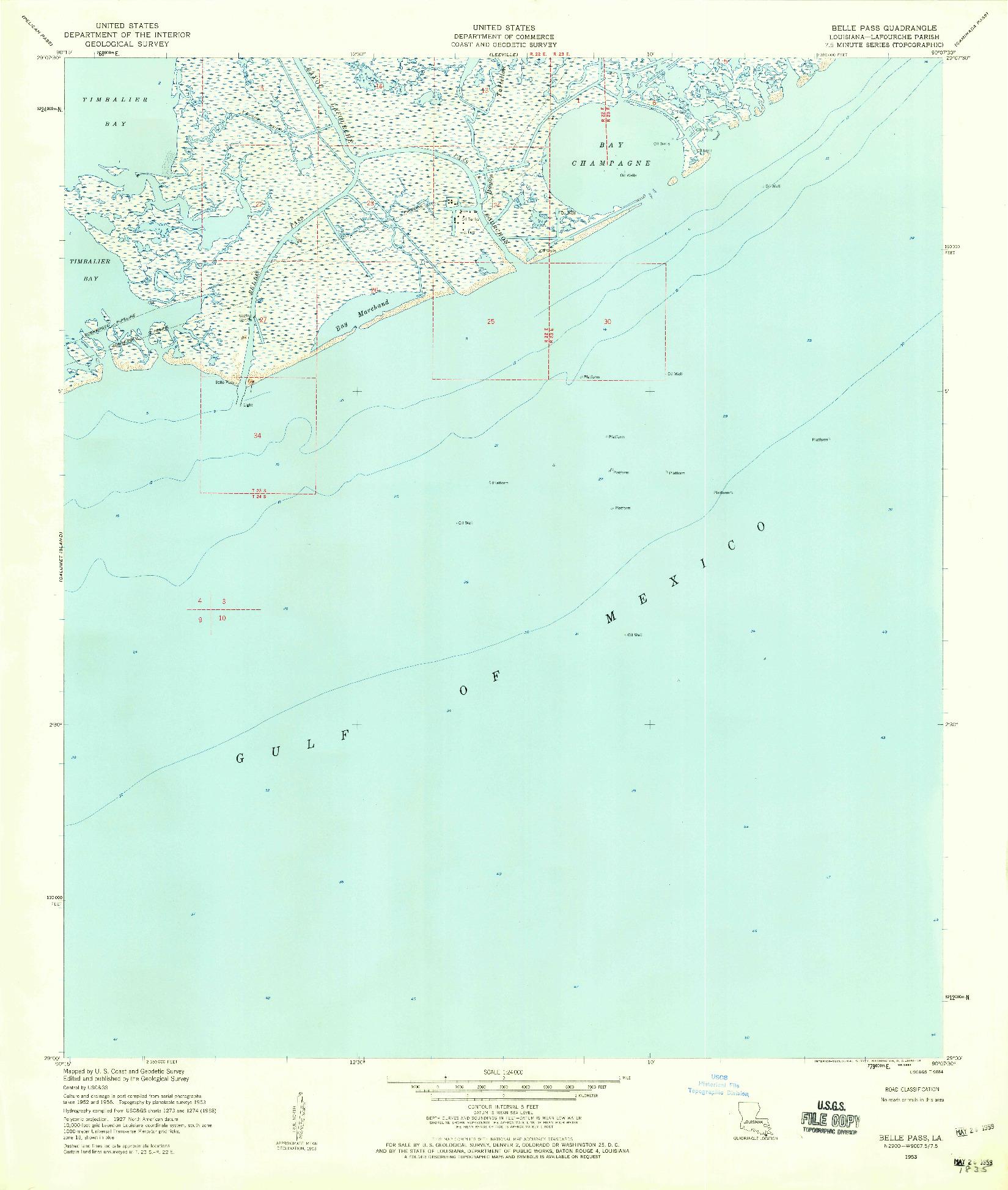 USGS 1:24000-SCALE QUADRANGLE FOR BELLE PASS, LA 1953