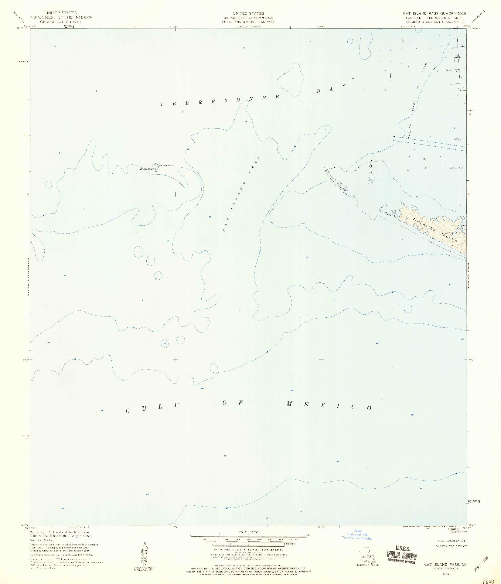 USGS 1:24000-SCALE QUADRANGLE FOR CAT ISLAND PASS, LA 1953