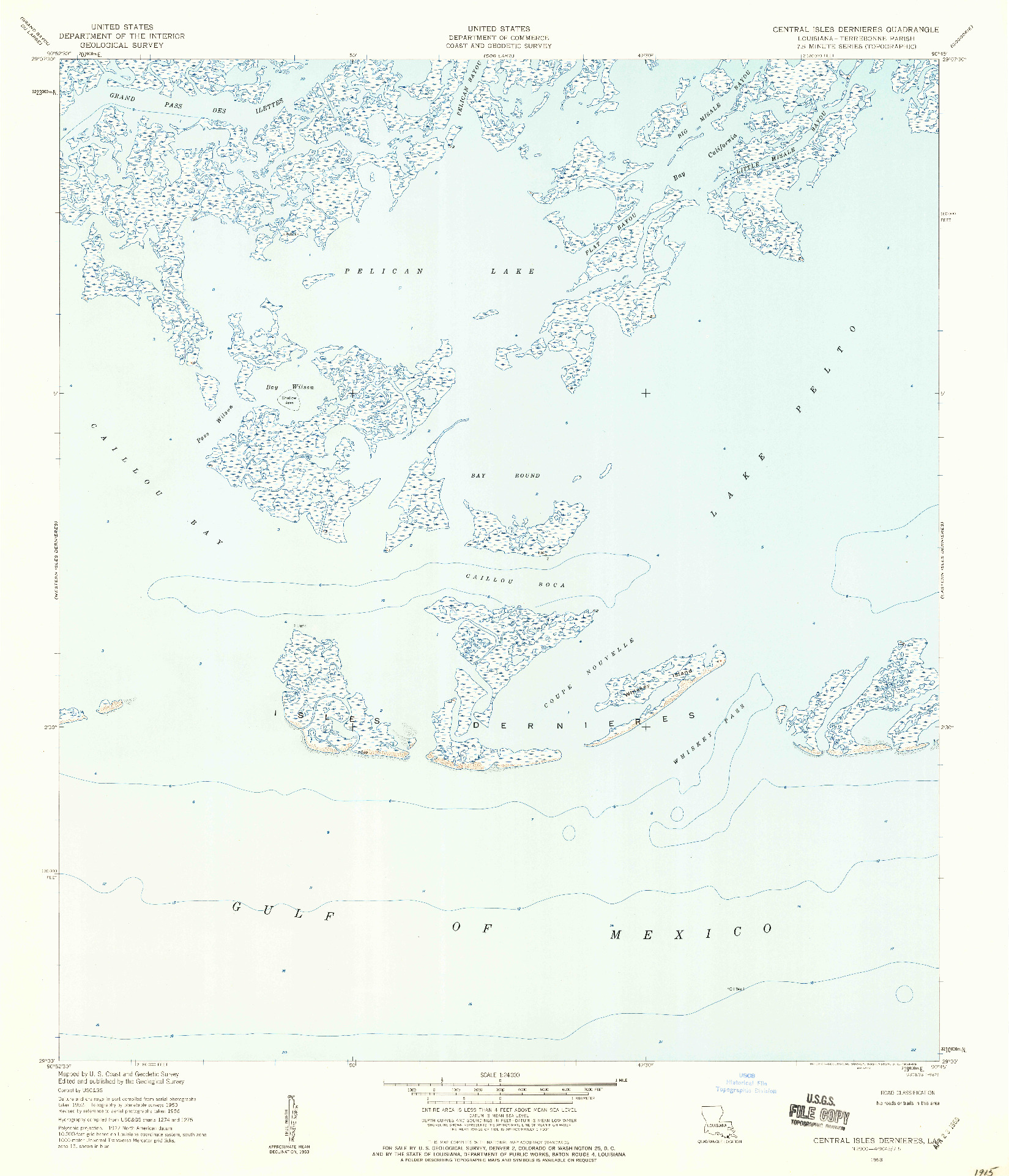 USGS 1:24000-SCALE QUADRANGLE FOR CENTRAL ISLES DERNIERES, LA 1953