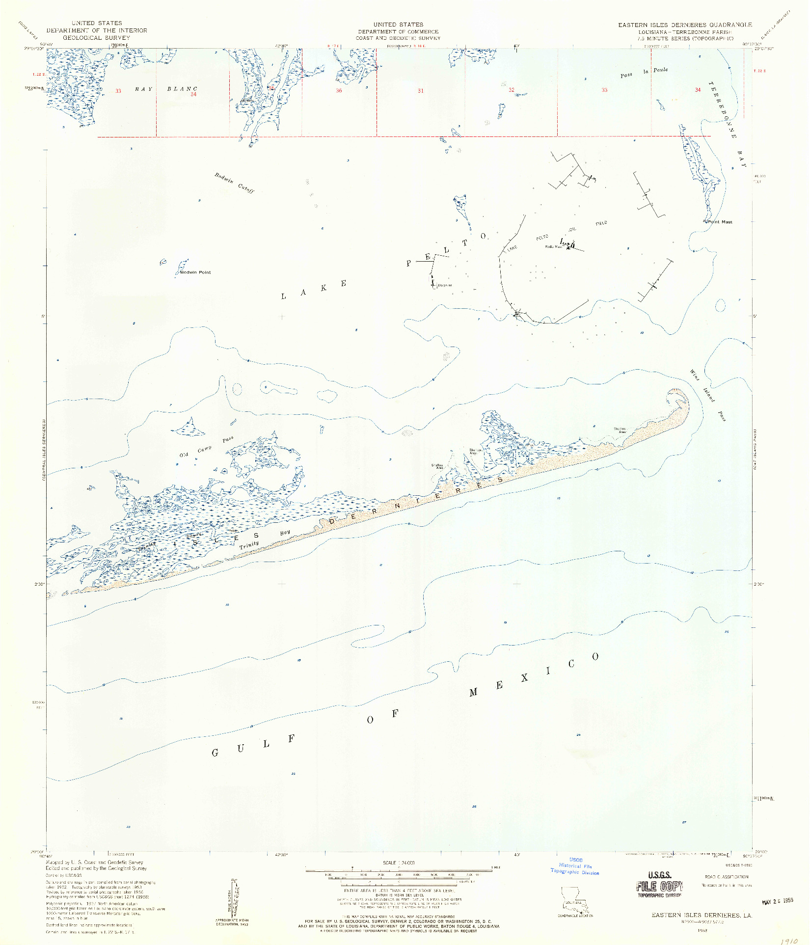 USGS 1:24000-SCALE QUADRANGLE FOR EASTERN ISLES DERNIERES, LA 1953