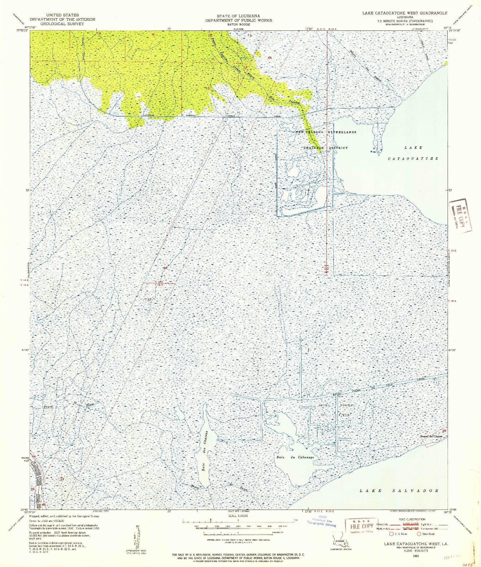 USGS 1:24000-SCALE QUADRANGLE FOR LAKE CATAOUATCHE WEST, LA 1952