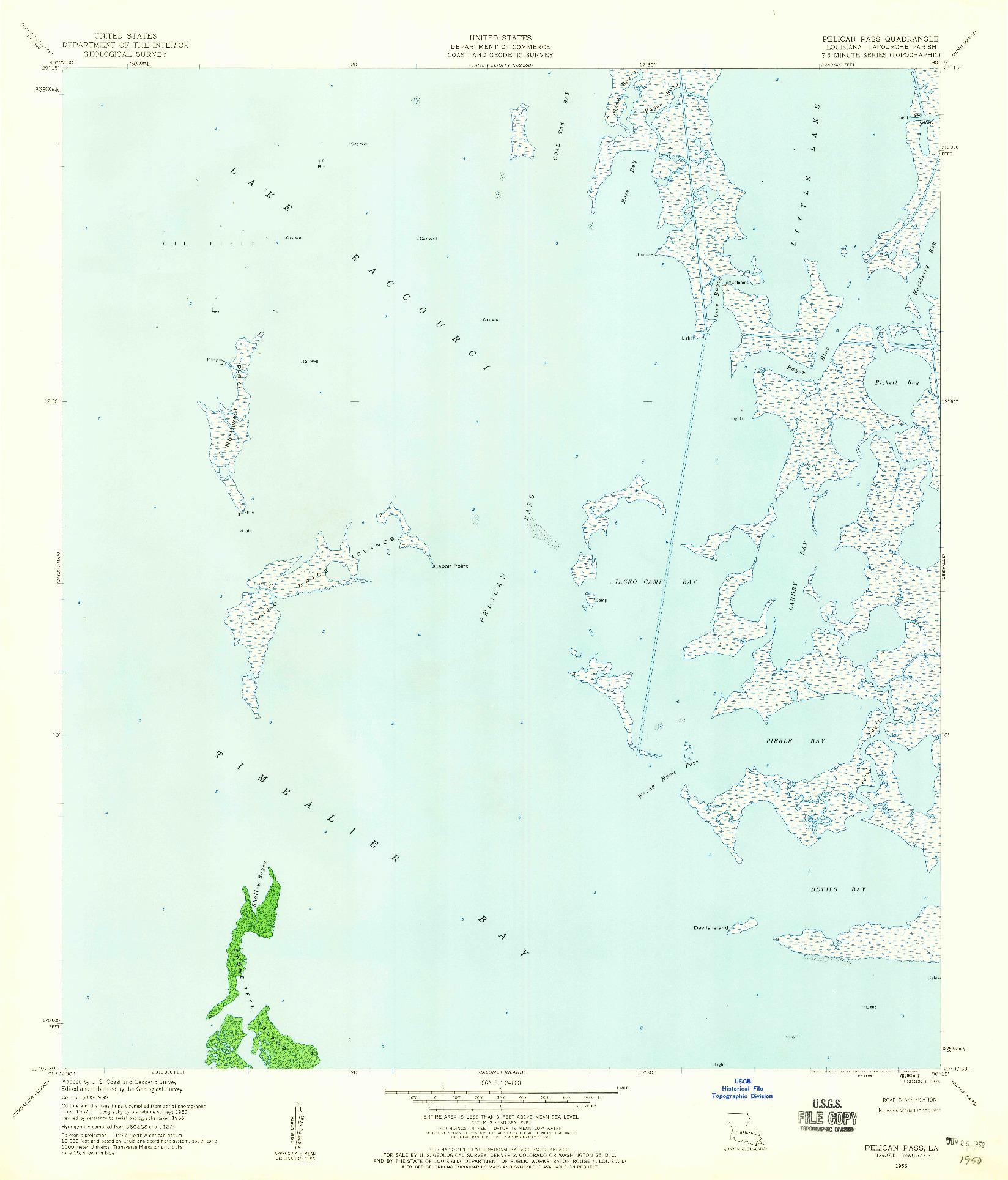 USGS 1:24000-SCALE QUADRANGLE FOR PELICAN PASS, LA 1956