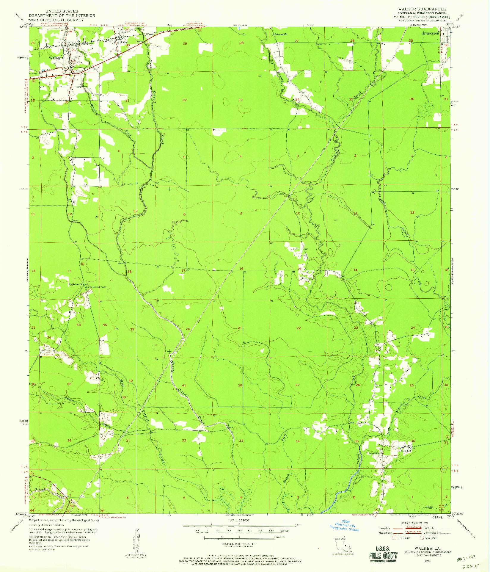 USGS 1:24000-SCALE QUADRANGLE FOR WALKER, LA 1953