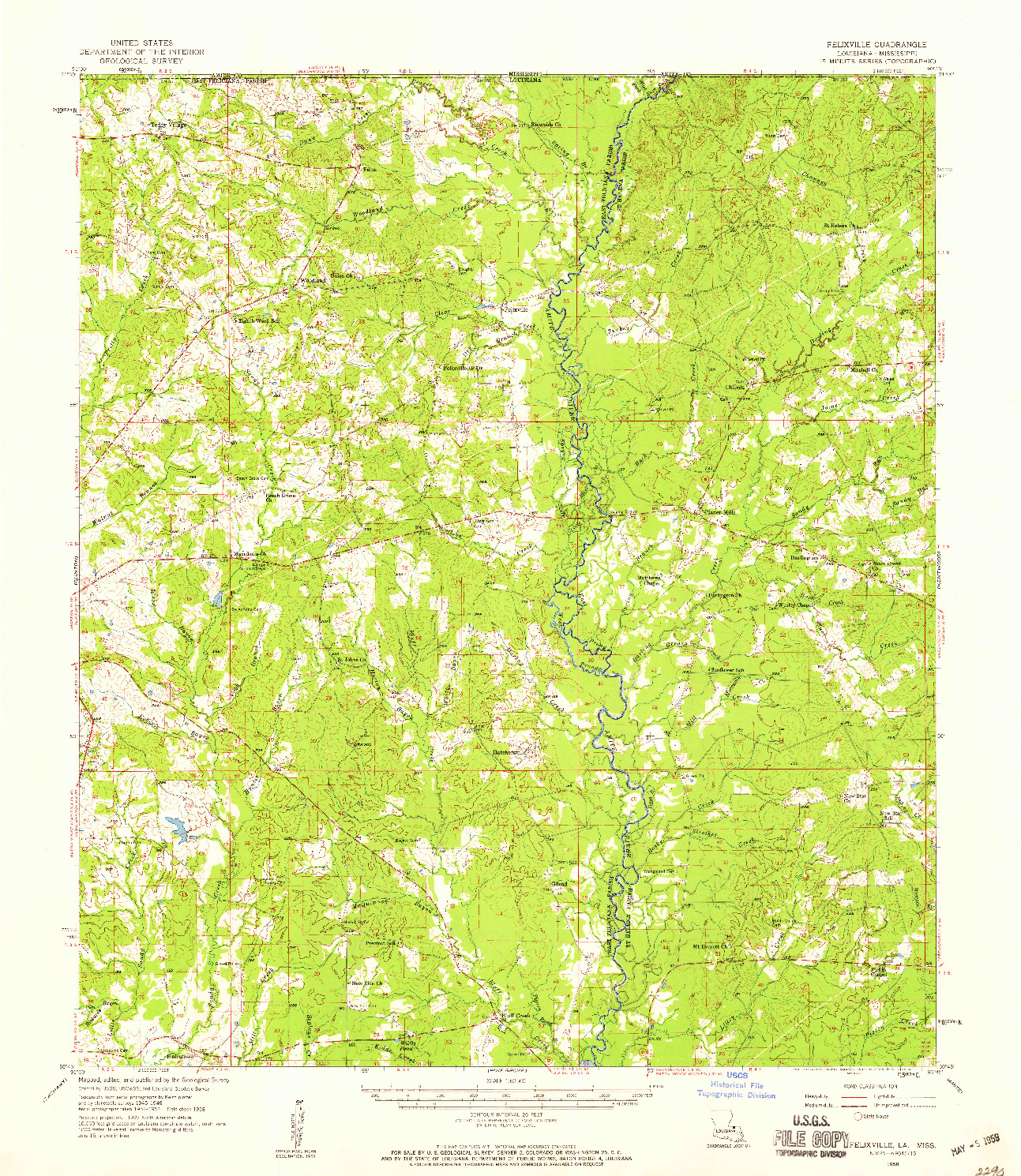 USGS 1:62500-SCALE QUADRANGLE FOR FELIXVILLE, LA 1958