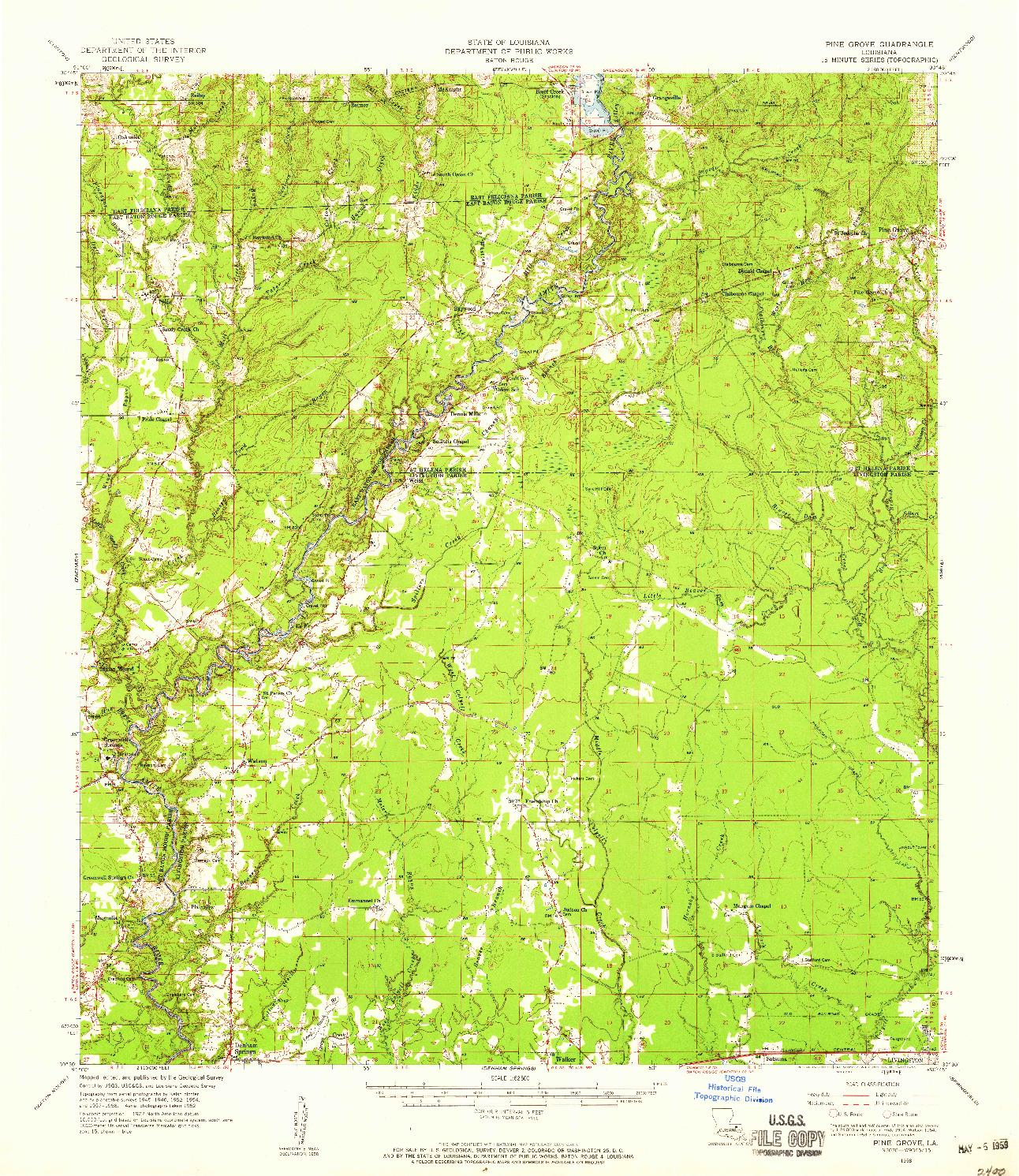 USGS 1:62500-SCALE QUADRANGLE FOR PINE GROVE, LA 1958