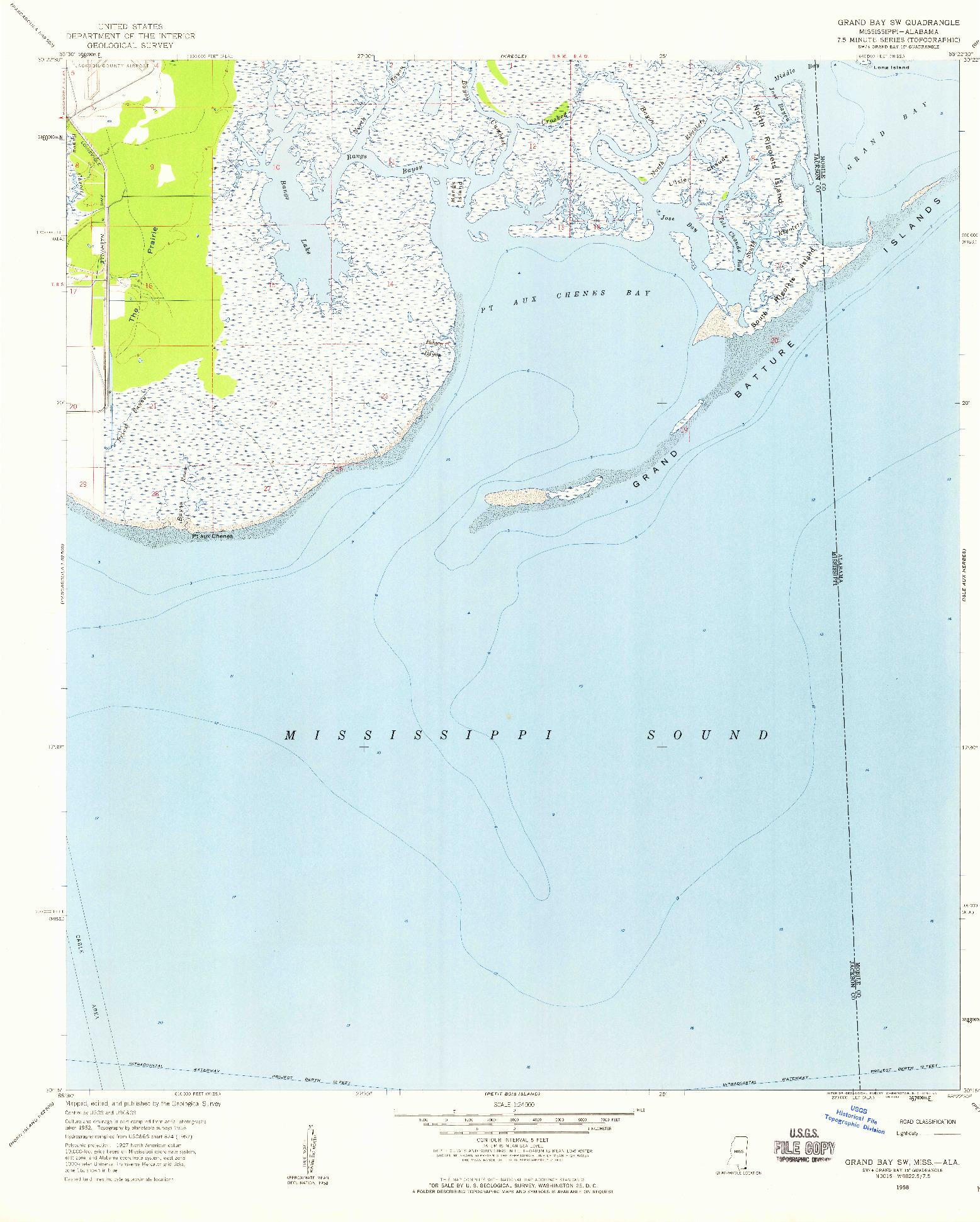 USGS 1:24000-SCALE QUADRANGLE FOR GRAND BAY SW, MS 1958