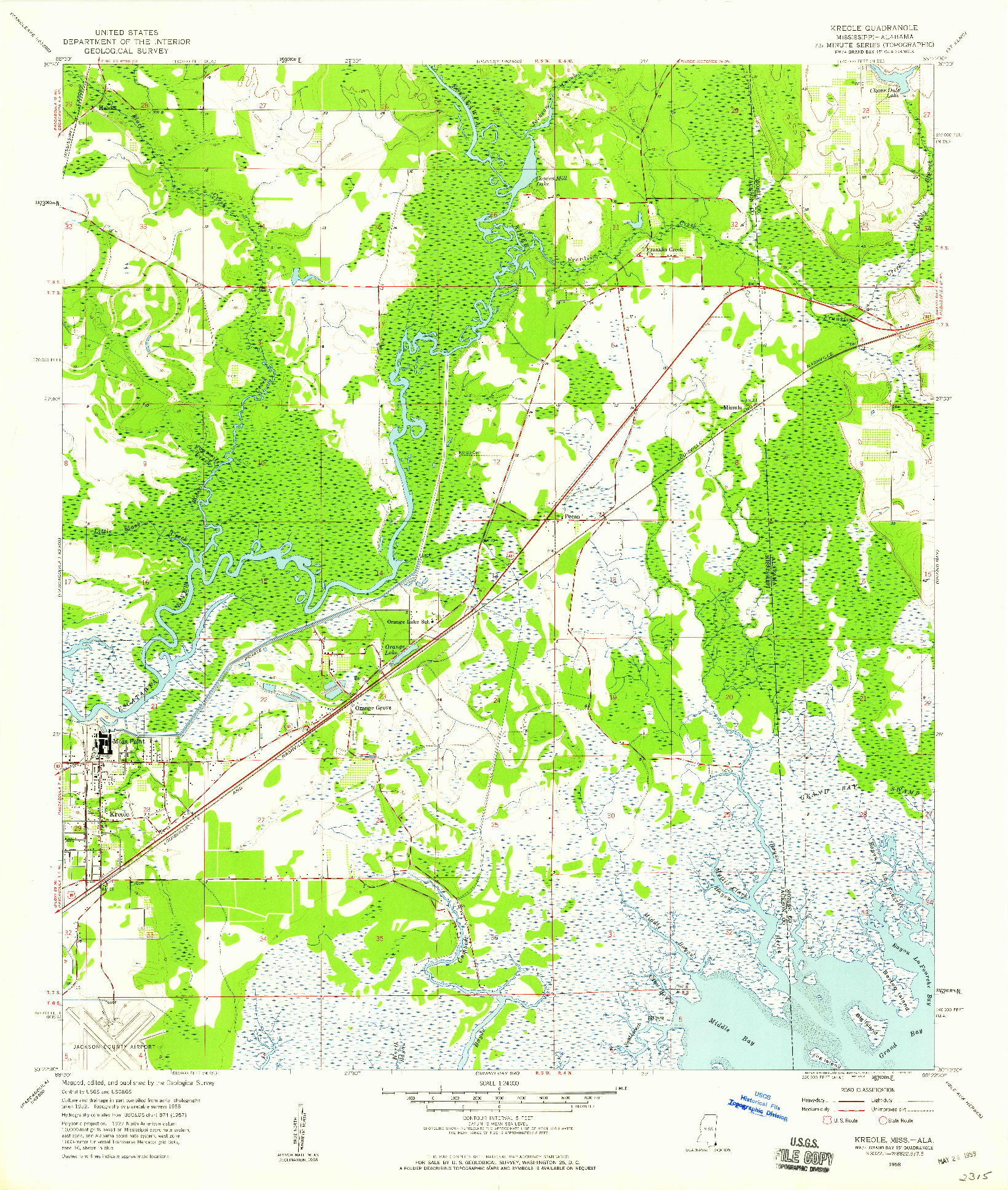 USGS 1:24000-SCALE QUADRANGLE FOR KREOLE, MS 1958