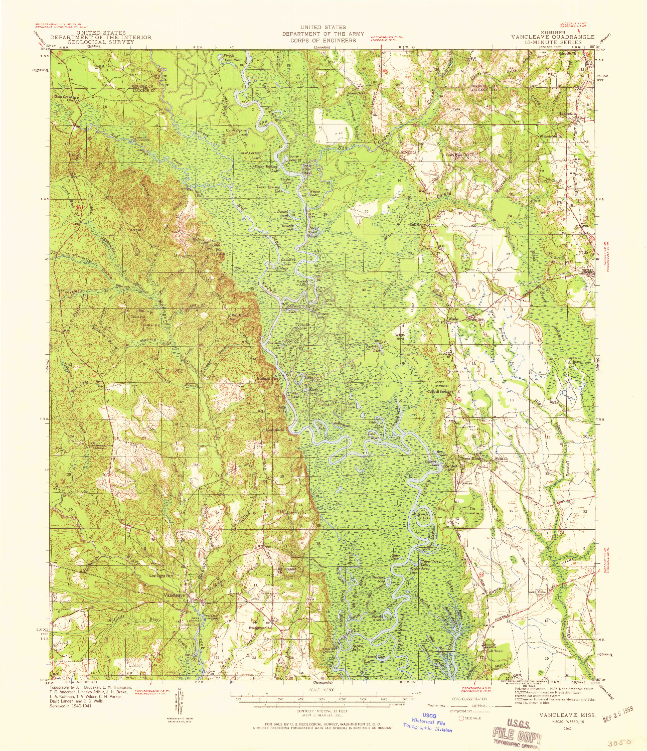 USGS 1:62500-SCALE QUADRANGLE FOR VANCLEAVE, MS 1941