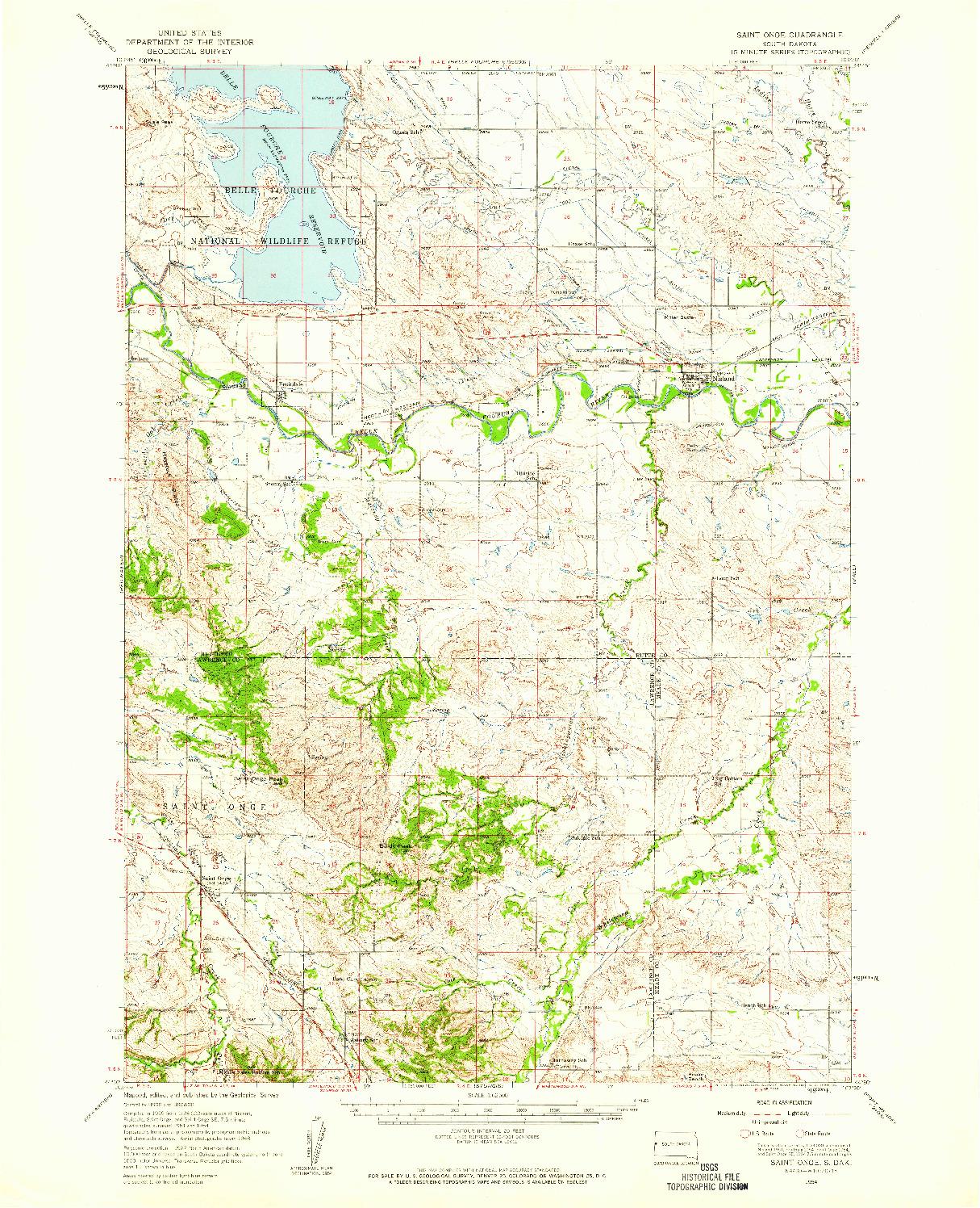 USGS 1:62500-SCALE QUADRANGLE FOR SAINT ONGE, SD 1954
