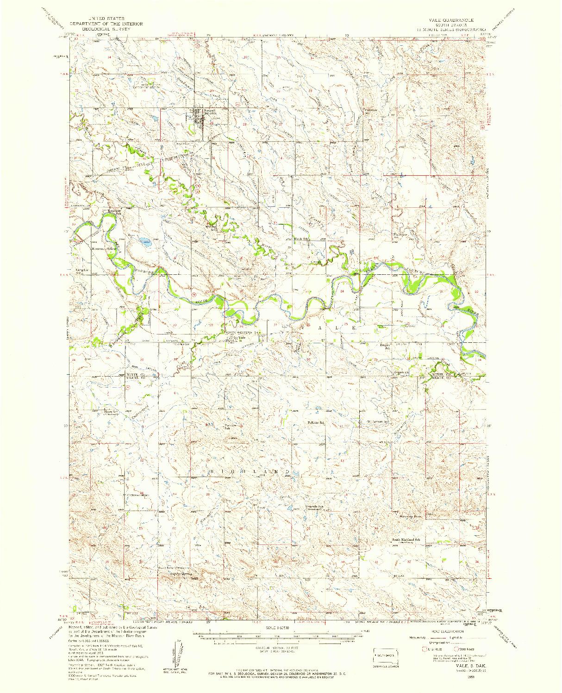 USGS 1:62500-SCALE QUADRANGLE FOR VALE, SD 1951