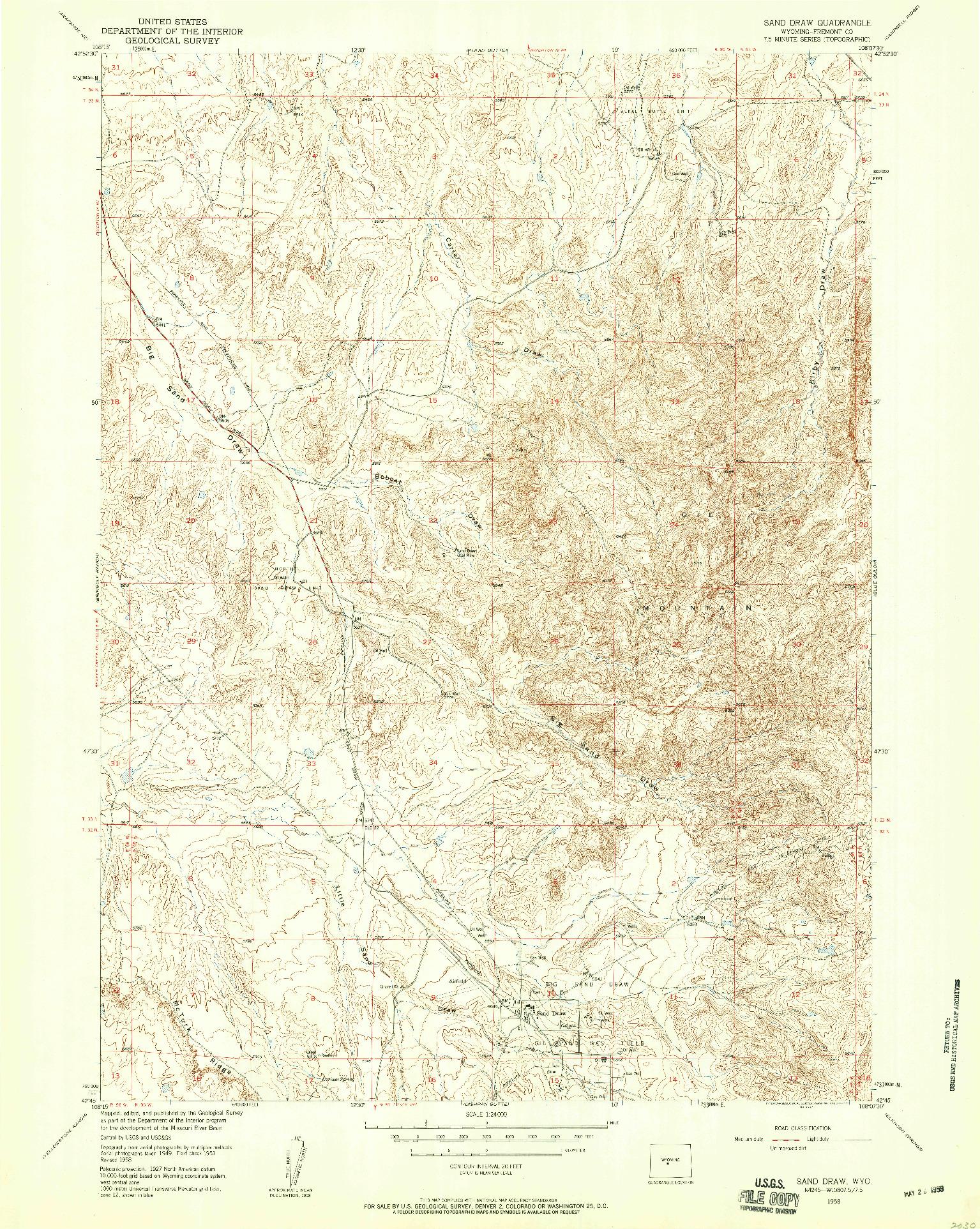 USGS 1:24000-SCALE QUADRANGLE FOR SAND DRAW, WY 1958
