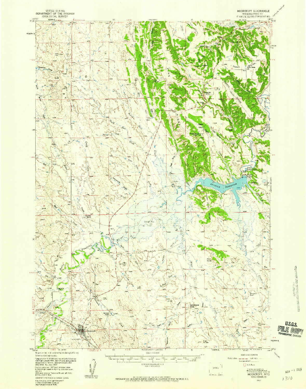 USGS 1:62500-SCALE QUADRANGLE FOR MOORCROFT, WY 1957