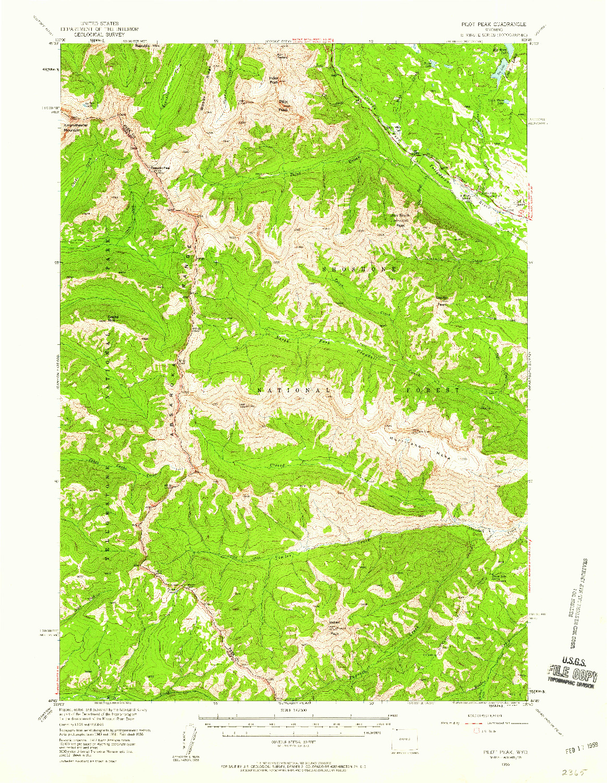 USGS 1:62500-SCALE QUADRANGLE FOR PILOT PEAK, WY 1956