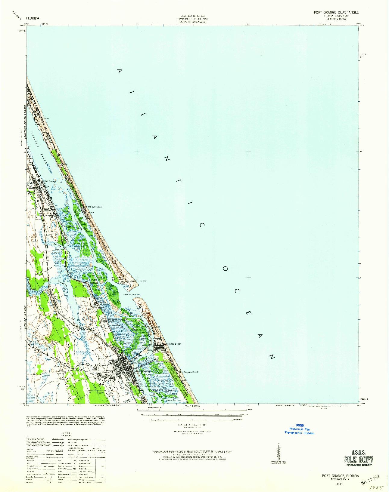 USGS 1:62500-SCALE QUADRANGLE FOR PORT ORANGE, FL 1943
