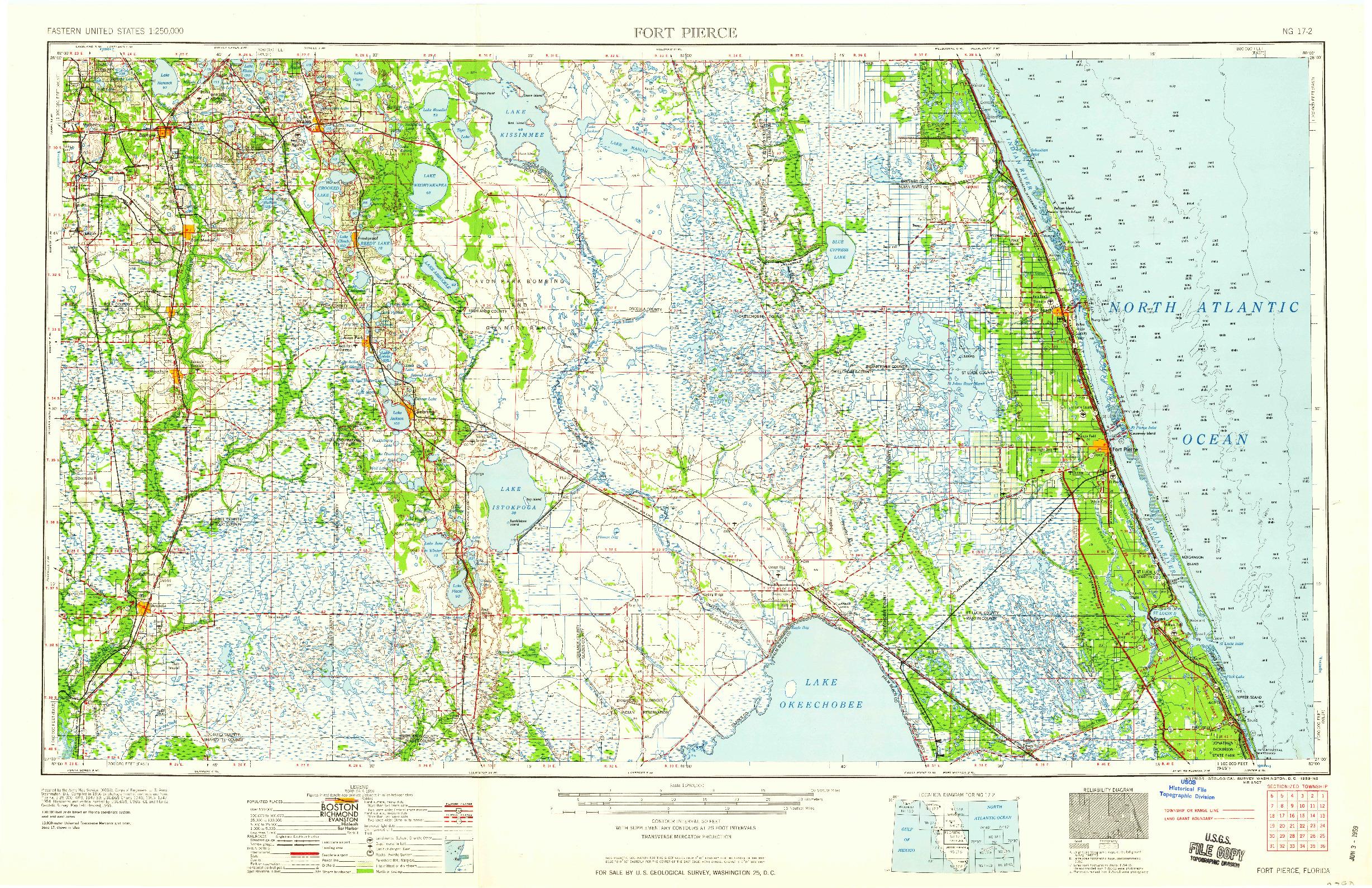 USGS 1:250000-SCALE QUADRANGLE FOR FORT PIERCE, FL 1959