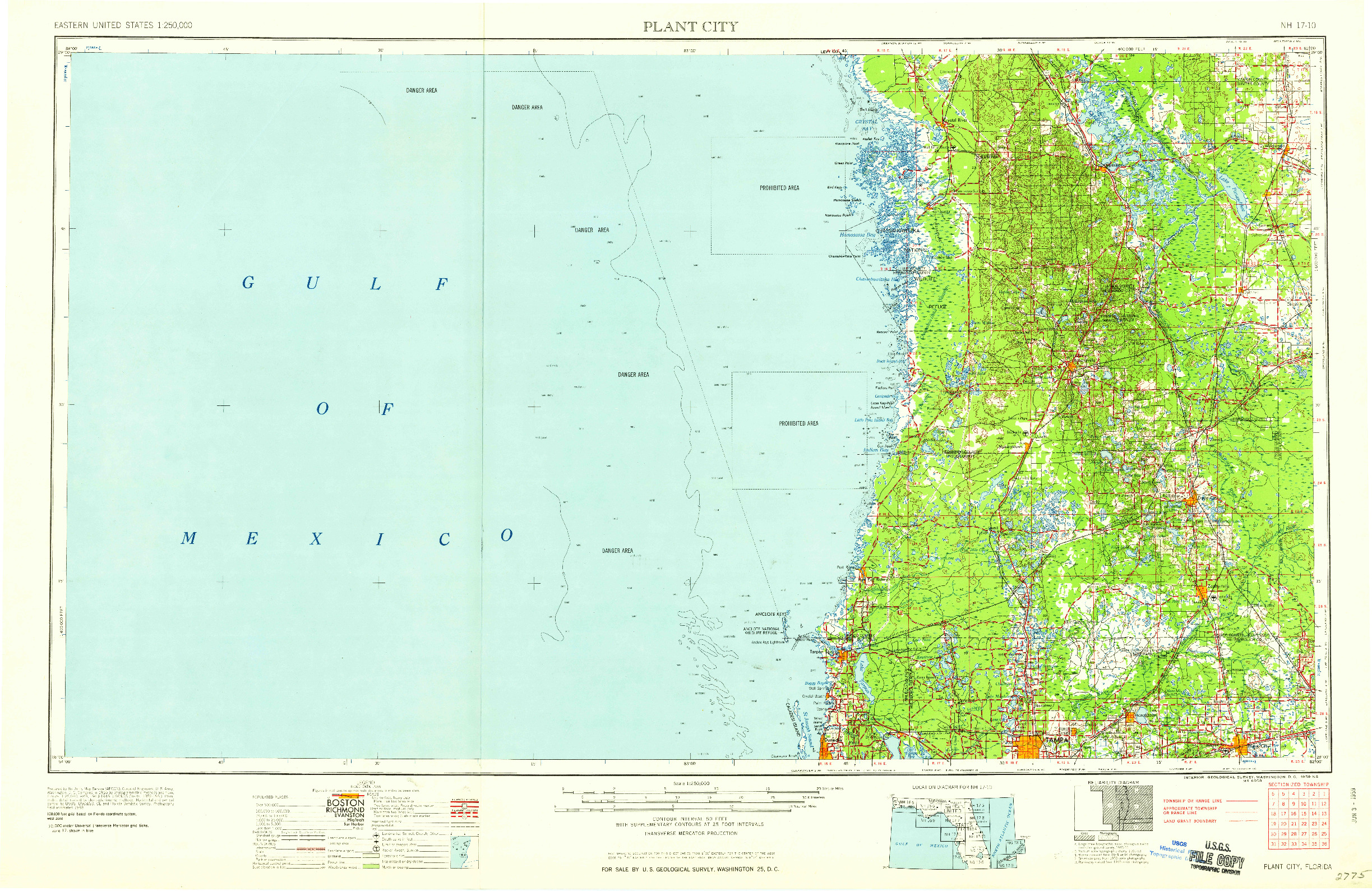 USGS 1:250000-SCALE QUADRANGLE FOR PLANT CITY, FL 1959