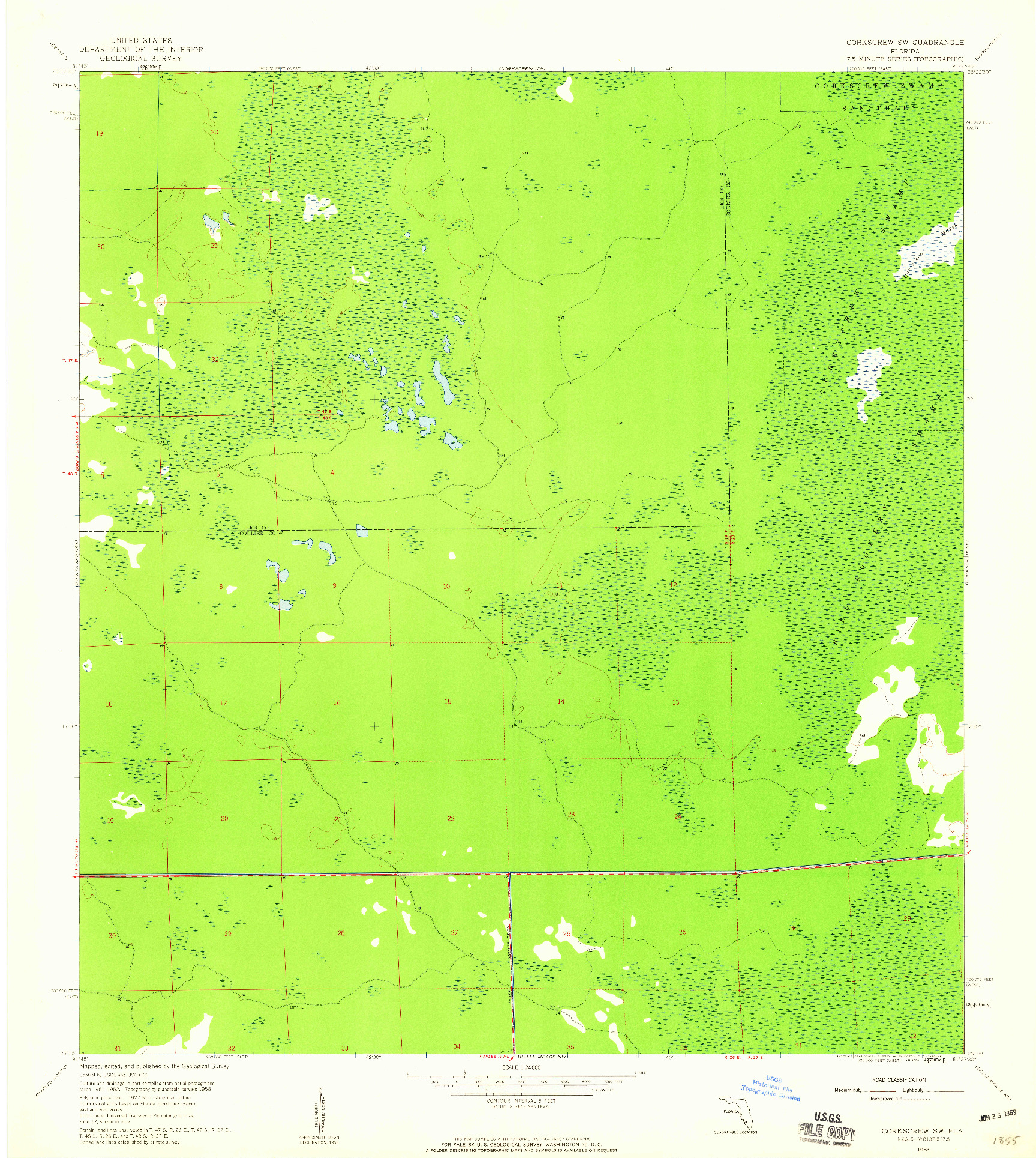 USGS 1:24000-SCALE QUADRANGLE FOR CORKSCREW SW, FL 1958