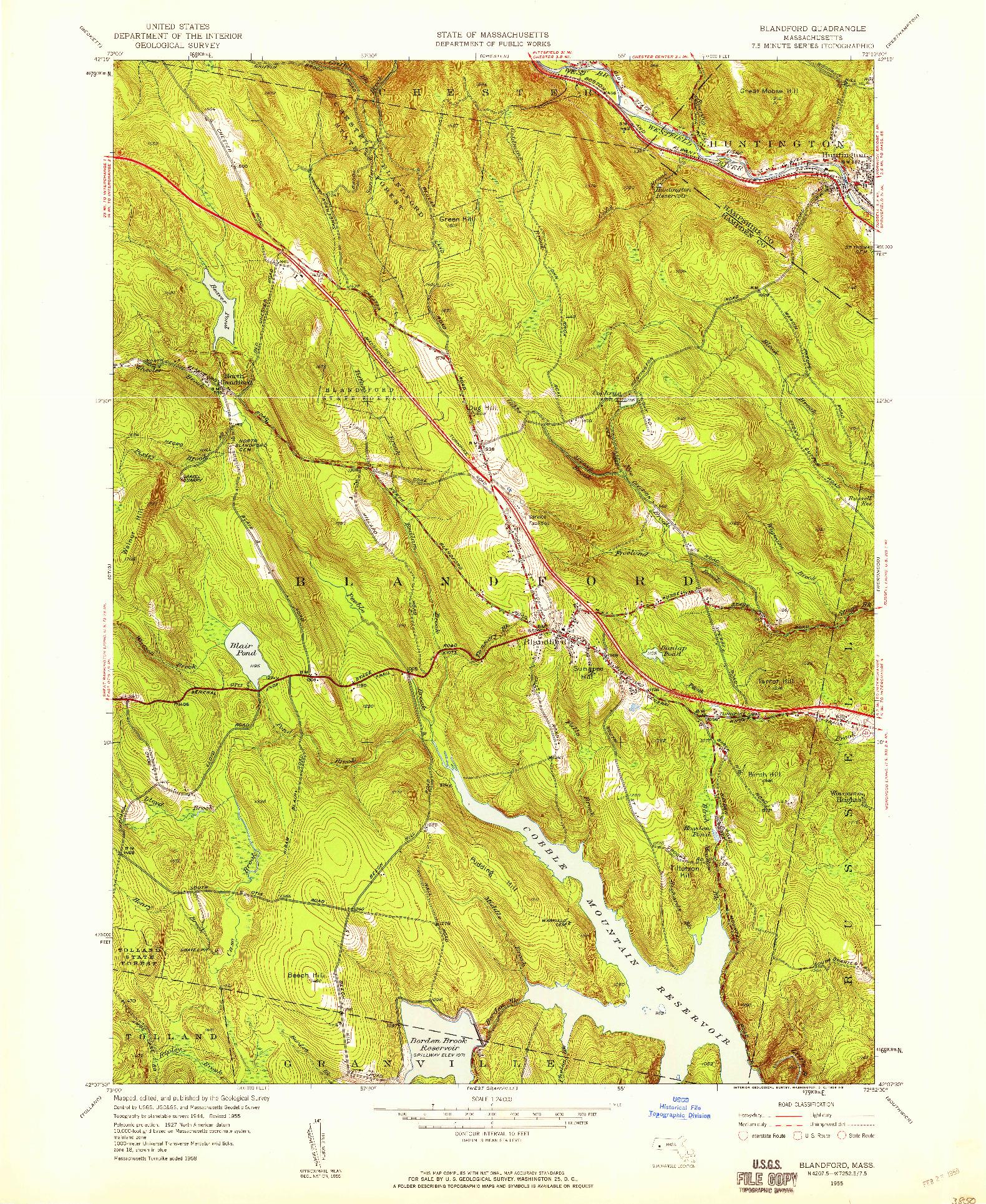 USGS 1:24000-SCALE QUADRANGLE FOR BLANDFORD, MA 1955